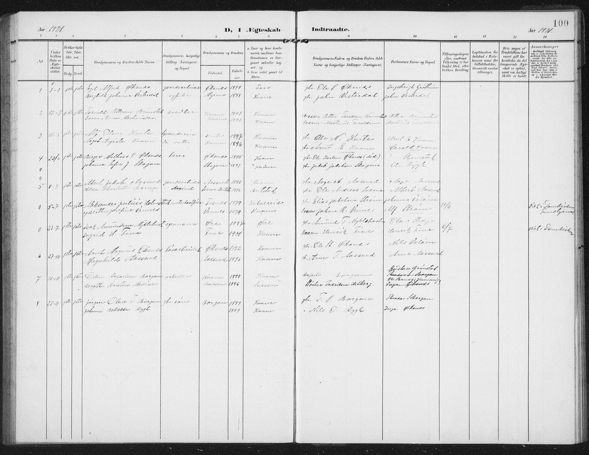 SAT, Ministerialprotokoller, klokkerbøker og fødselsregistre - Nord-Trøndelag, 747/L0460: Klokkerbok nr. 747C02, 1908-1939, s. 100