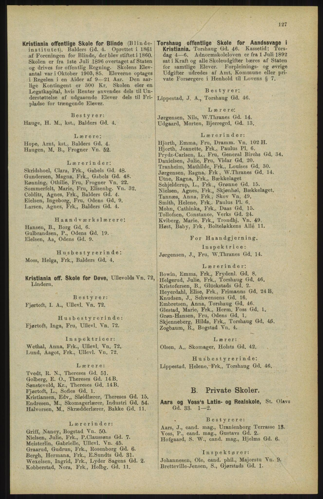 RA, Kristiania adressebok (publikasjon)*, 1904, s. 127