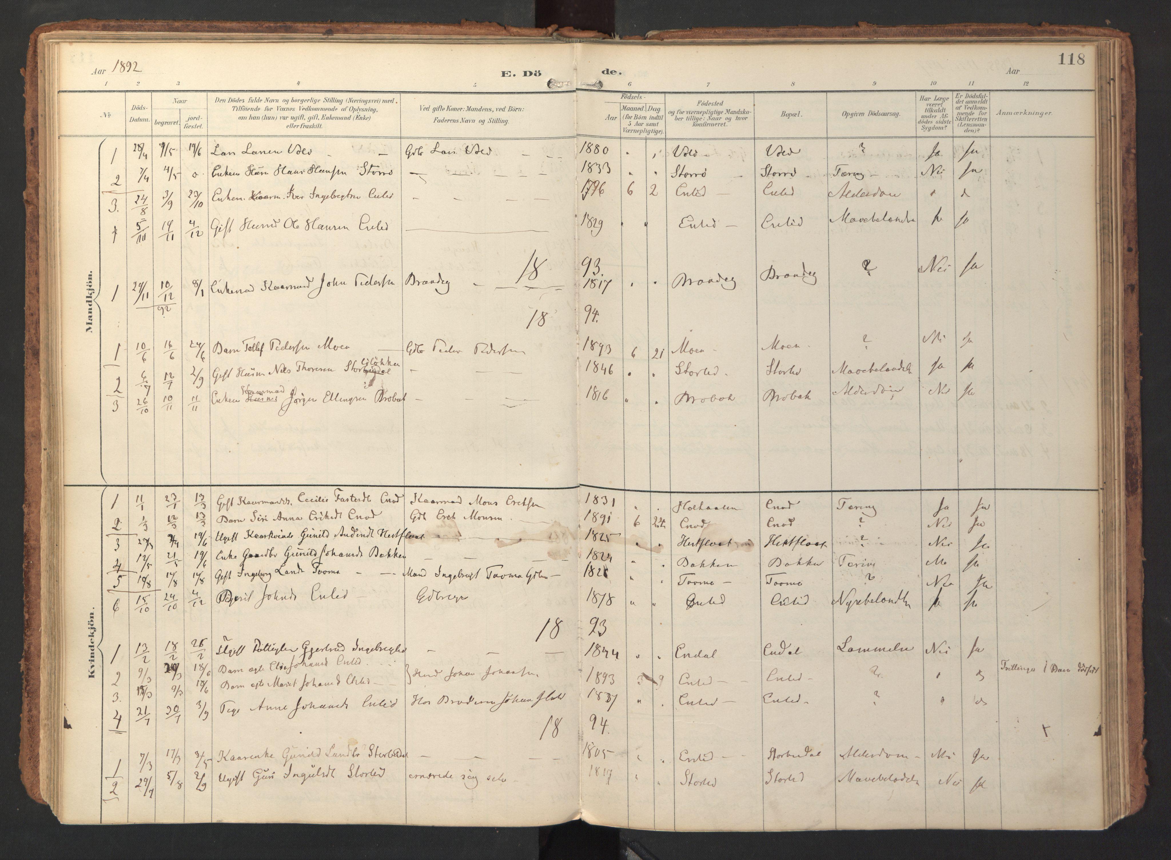SAT, Ministerialprotokoller, klokkerbøker og fødselsregistre - Sør-Trøndelag, 690/L1050: Ministerialbok nr. 690A01, 1889-1929, s. 118