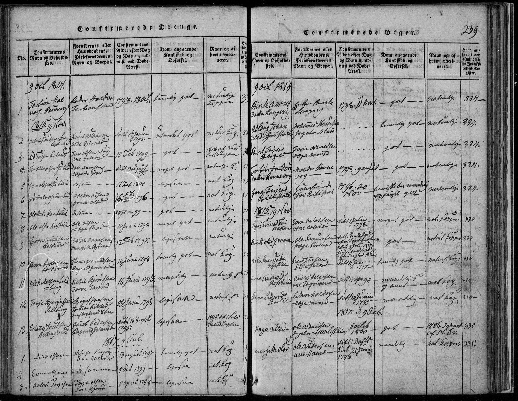 SAKO, Rauland kirkebøker, F/Fa/L0001: Ministerialbok nr. 1, 1814-1859, s. 239