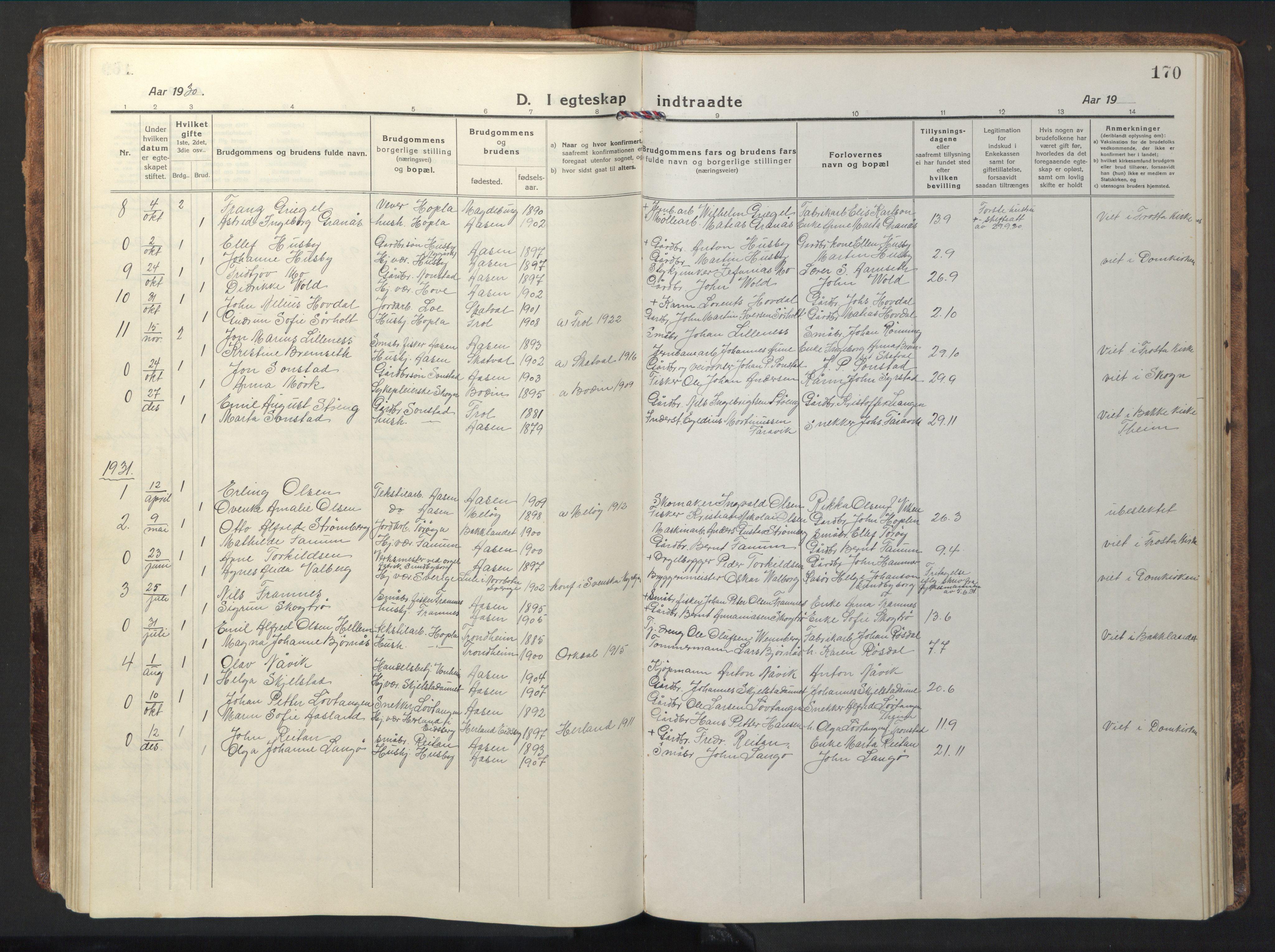 SAT, Ministerialprotokoller, klokkerbøker og fødselsregistre - Nord-Trøndelag, 714/L0136: Klokkerbok nr. 714C05, 1918-1957, s. 170