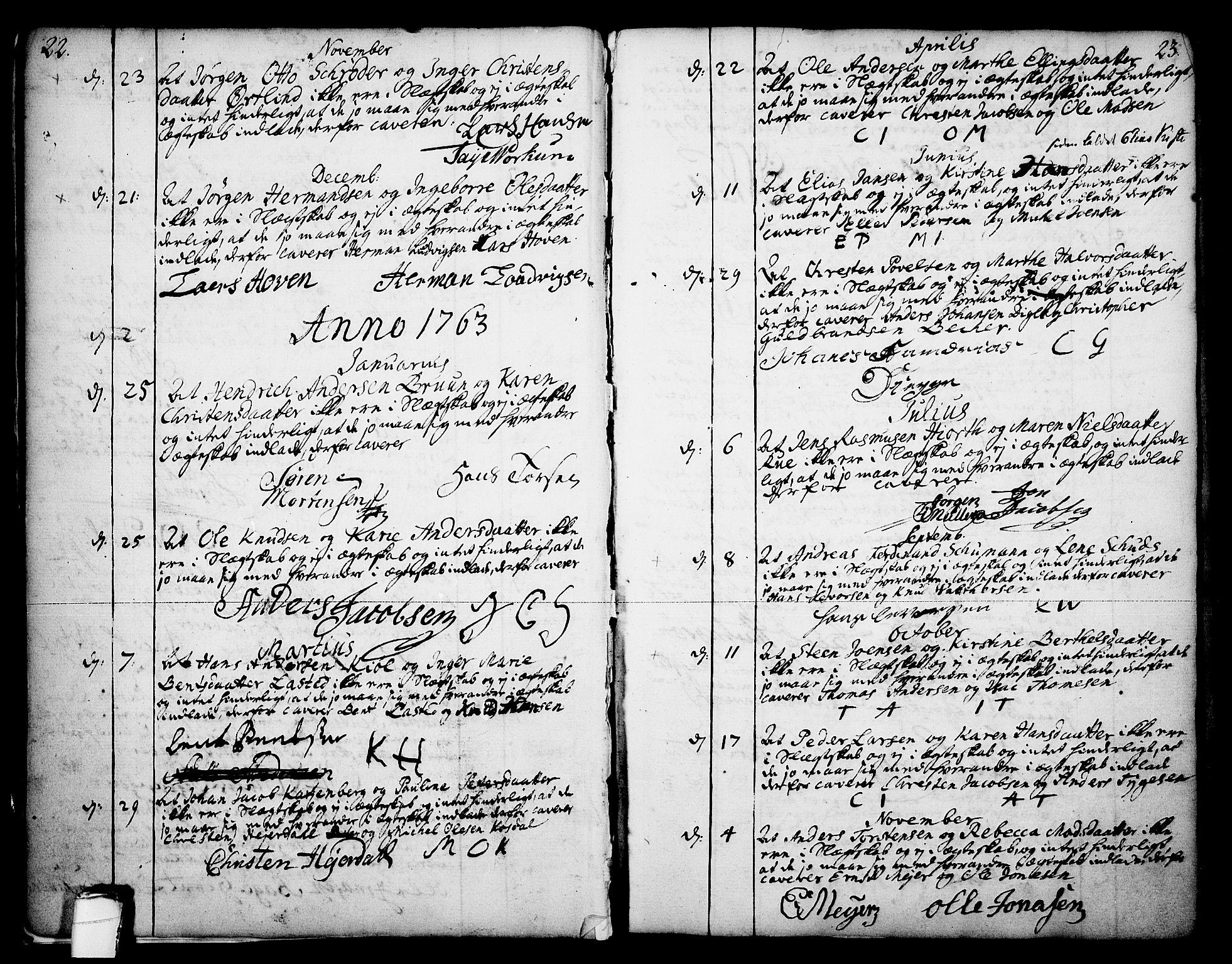 SAKO, Skien kirkebøker, F/Fa/L0003: Ministerialbok nr. 3, 1755-1791, s. 22-23