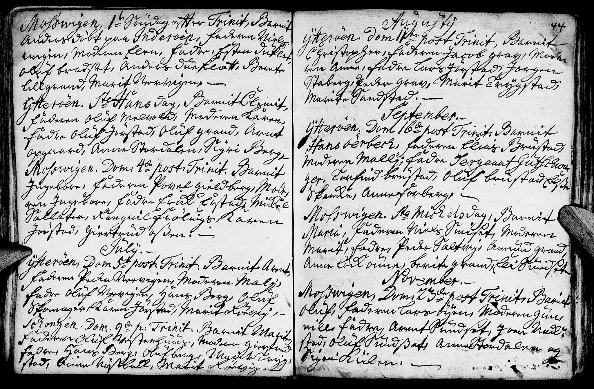 SAT, Ministerialprotokoller, klokkerbøker og fødselsregistre - Nord-Trøndelag, 722/L0215: Ministerialbok nr. 722A02, 1718-1755, s. 44