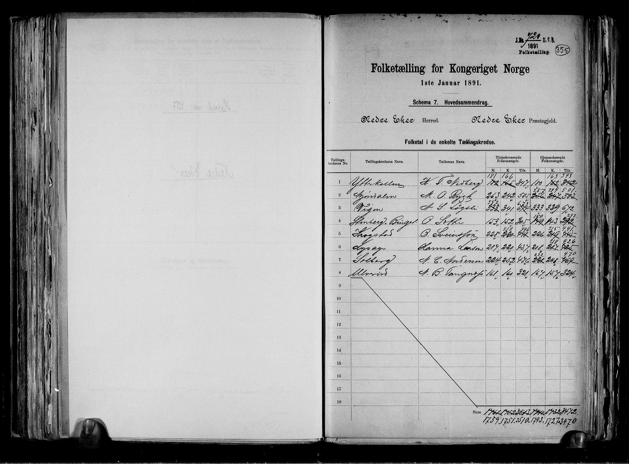 RA, Folketelling 1891 for 0625 Nedre Eiker herred, 1891, s. 2
