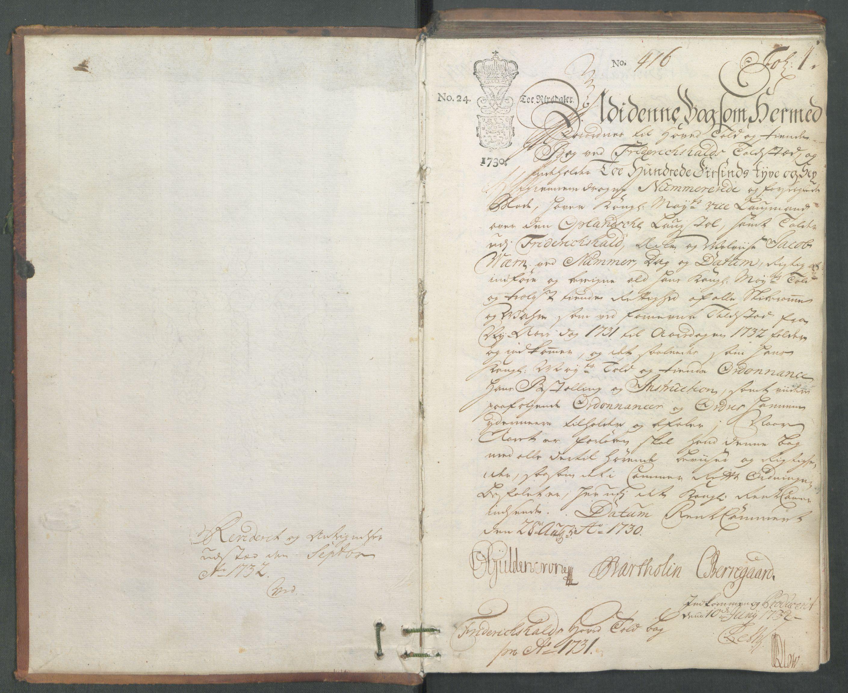 RA, Generaltollkammeret, tollregnskaper, R01/L0006: Tollregnskaper Fredrikshald, 1731, s. 1