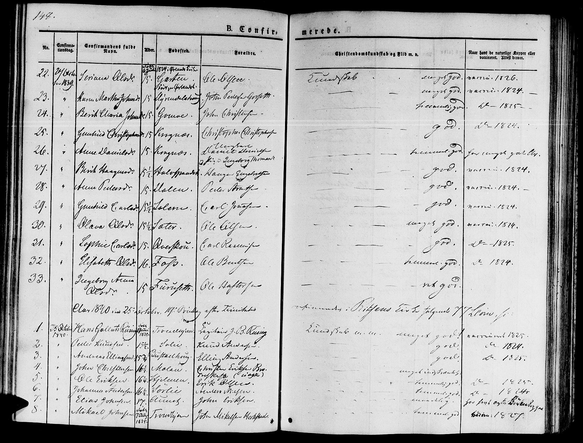 SAT, Ministerialprotokoller, klokkerbøker og fødselsregistre - Sør-Trøndelag, 646/L0610: Ministerialbok nr. 646A08, 1837-1847, s. 148