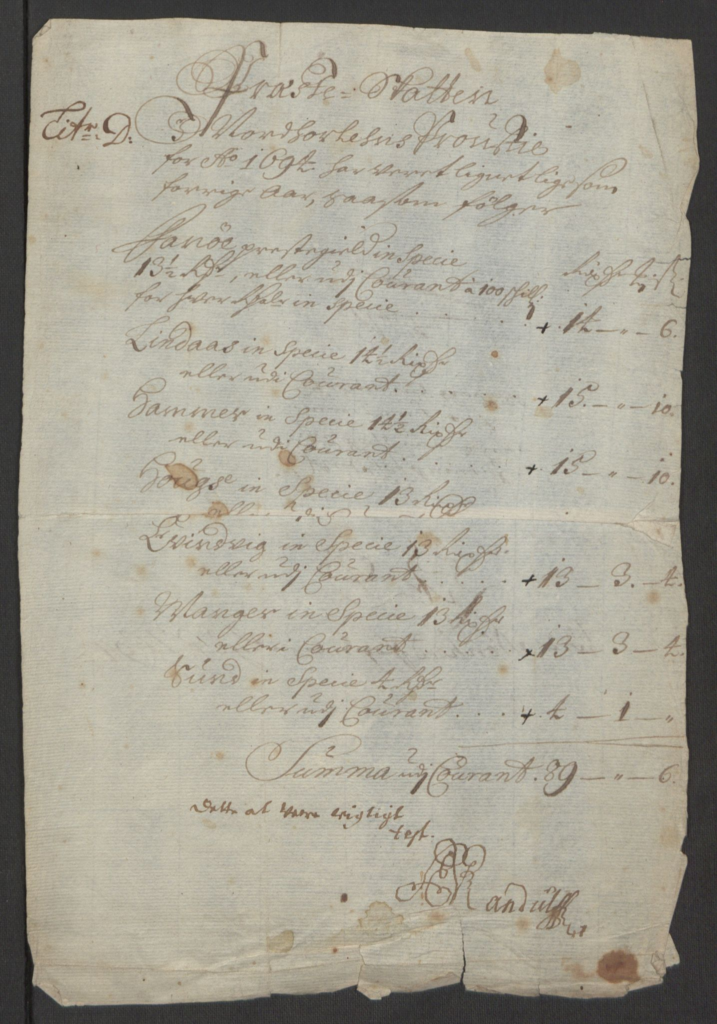 RA, Rentekammeret inntil 1814, Reviderte regnskaper, Fogderegnskap, R51/L3182: Fogderegnskap Nordhordland og Voss, 1694, s. 299