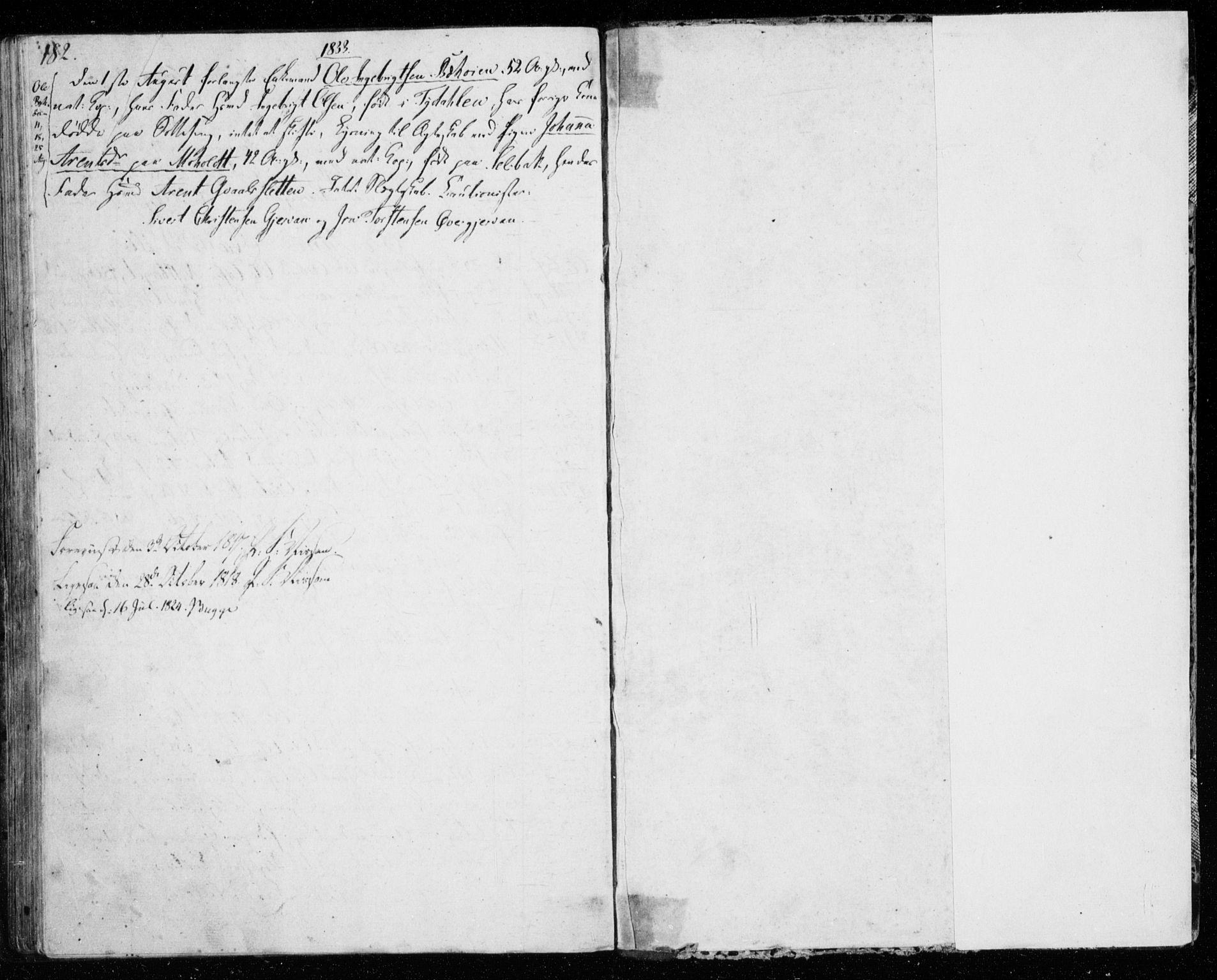 SAT, Ministerialprotokoller, klokkerbøker og fødselsregistre - Sør-Trøndelag, 606/L0295: Lysningsprotokoll nr. 606A10, 1815-1833, s. 182-183