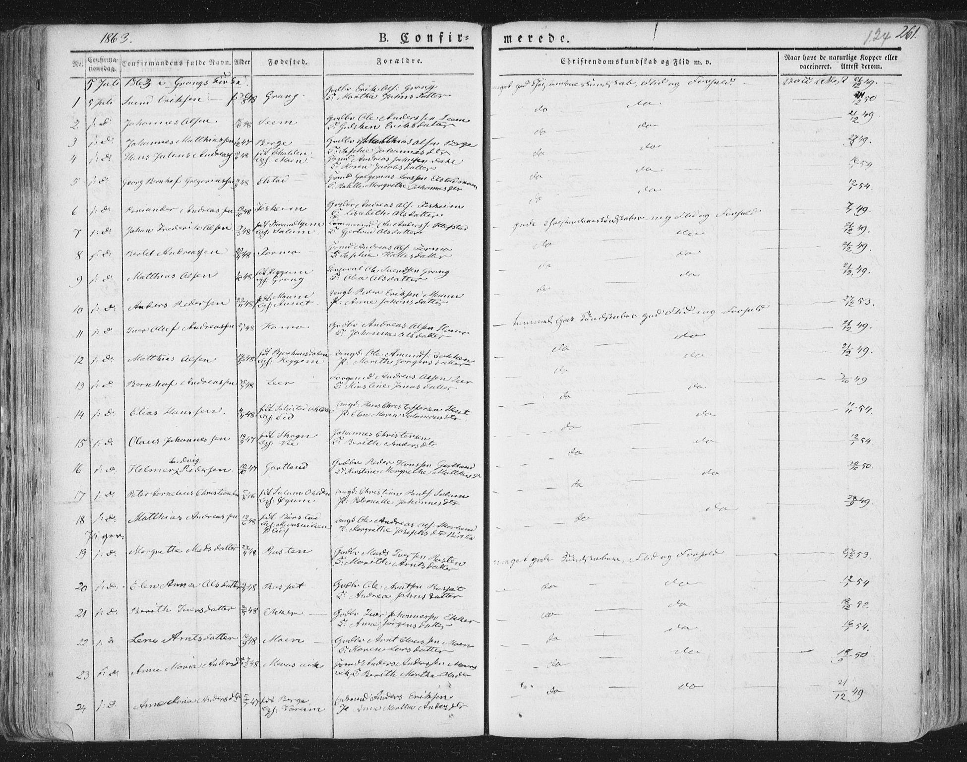 SAT, Ministerialprotokoller, klokkerbøker og fødselsregistre - Nord-Trøndelag, 758/L0513: Ministerialbok nr. 758A02 /1, 1839-1868, s. 124