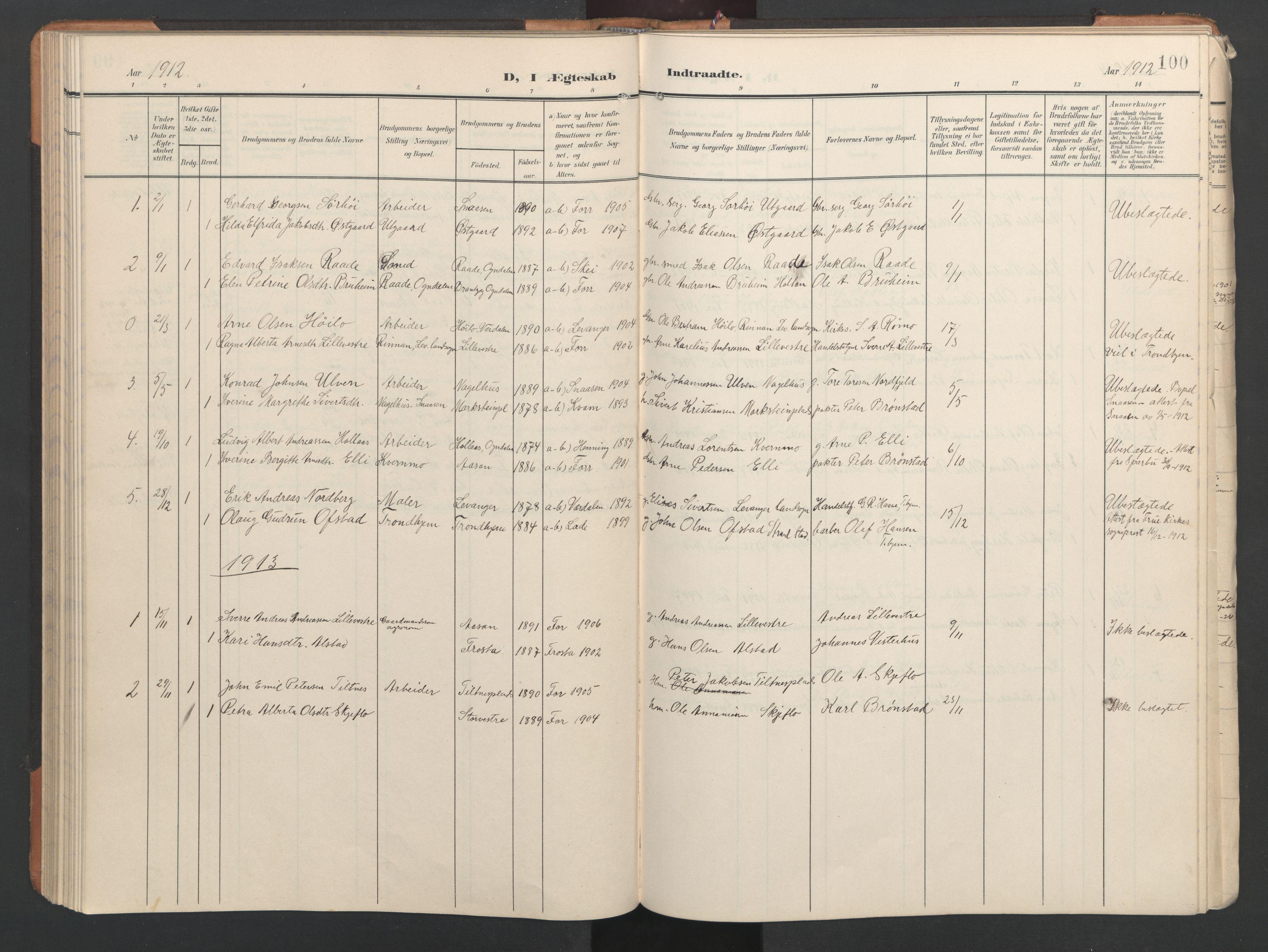 SAT, Ministerialprotokoller, klokkerbøker og fødselsregistre - Nord-Trøndelag, 746/L0455: Klokkerbok nr. 746C01, 1908-1933, s. 100