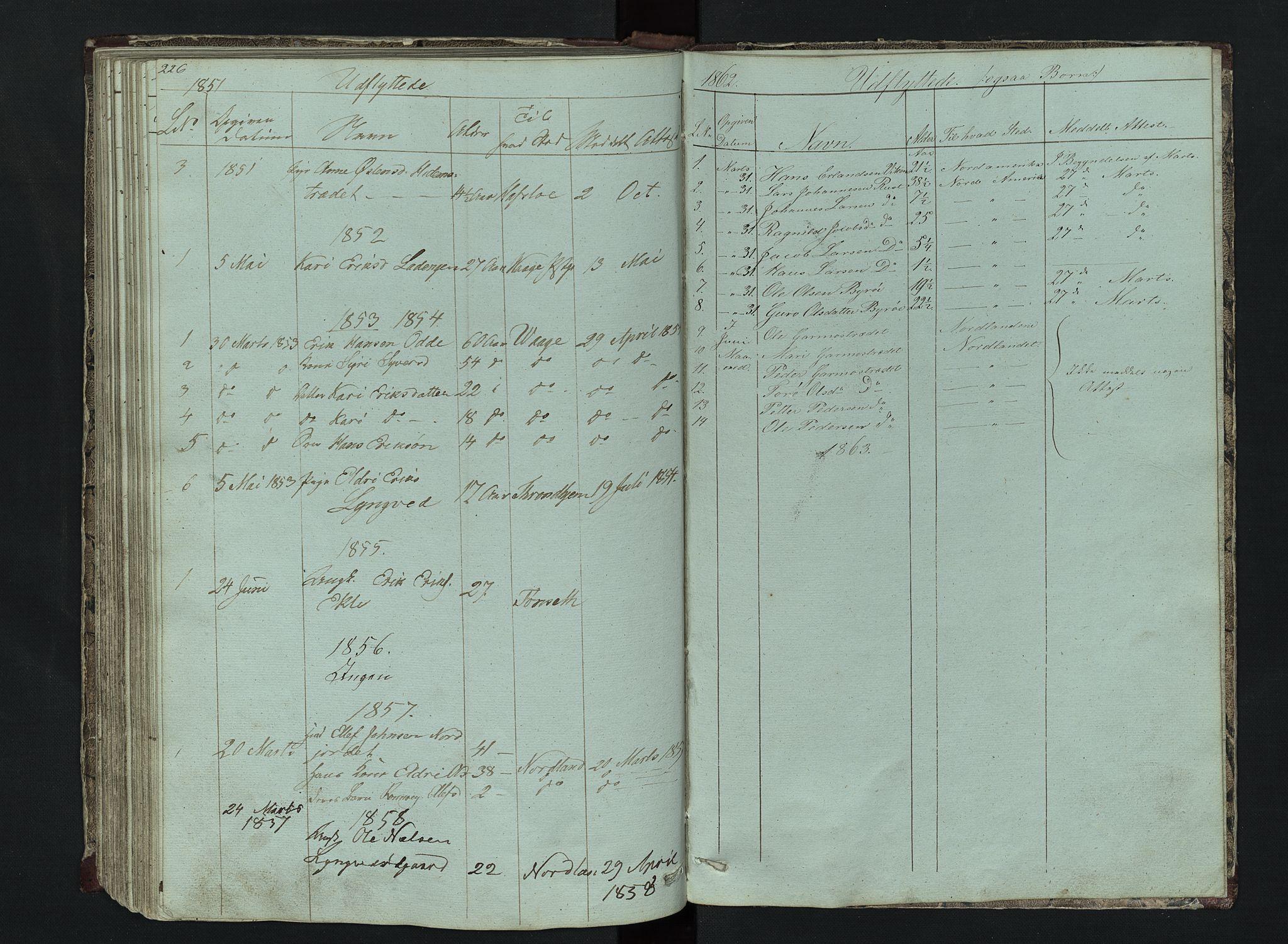 SAH, Lom prestekontor, L/L0014: Klokkerbok nr. 14, 1845-1876, s. 226-227