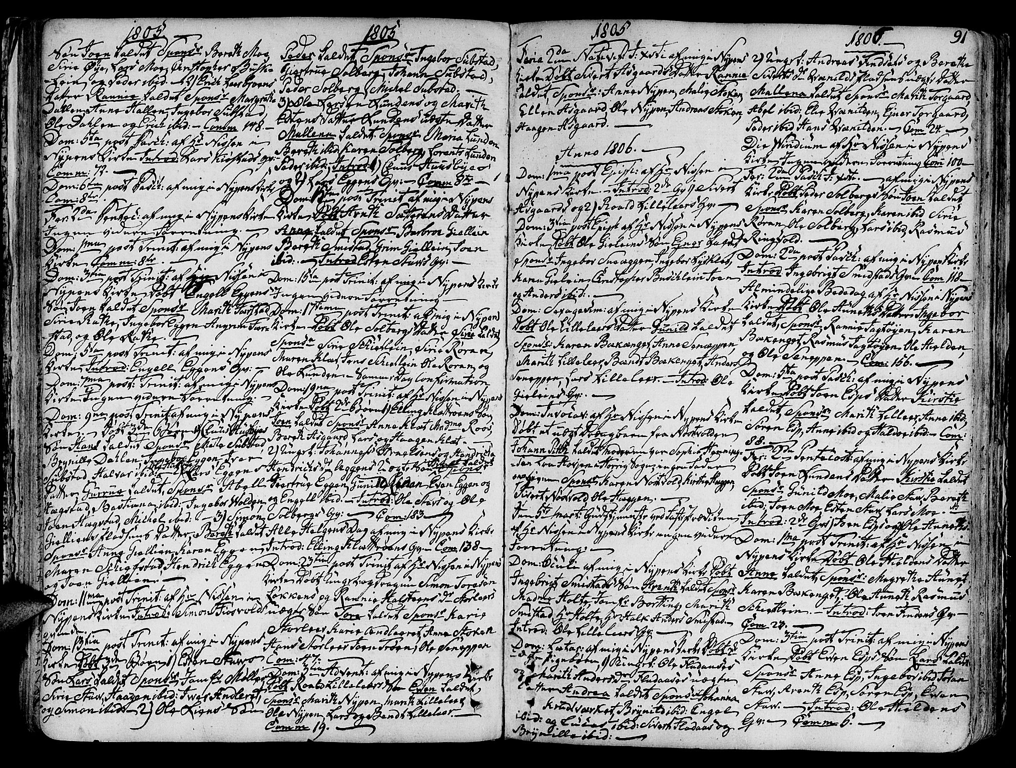 SAT, Ministerialprotokoller, klokkerbøker og fødselsregistre - Sør-Trøndelag, 691/L1063: Ministerialbok nr. 691A02 /3, 1768-1815, s. 91