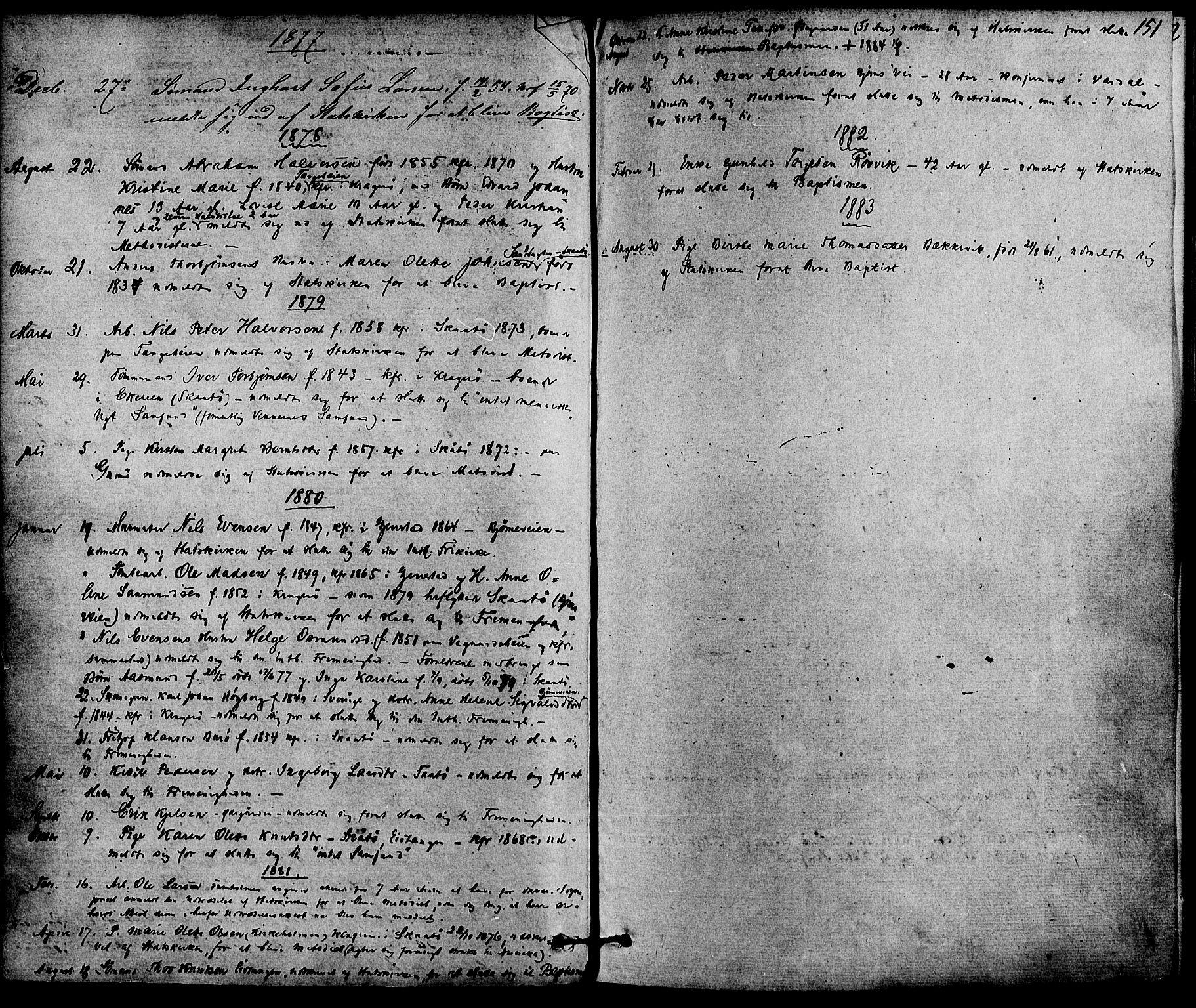SAKO, Skåtøy kirkebøker, F/Fa/L0001: Ministerialbok nr. I 1, 1874-1883, s. 151