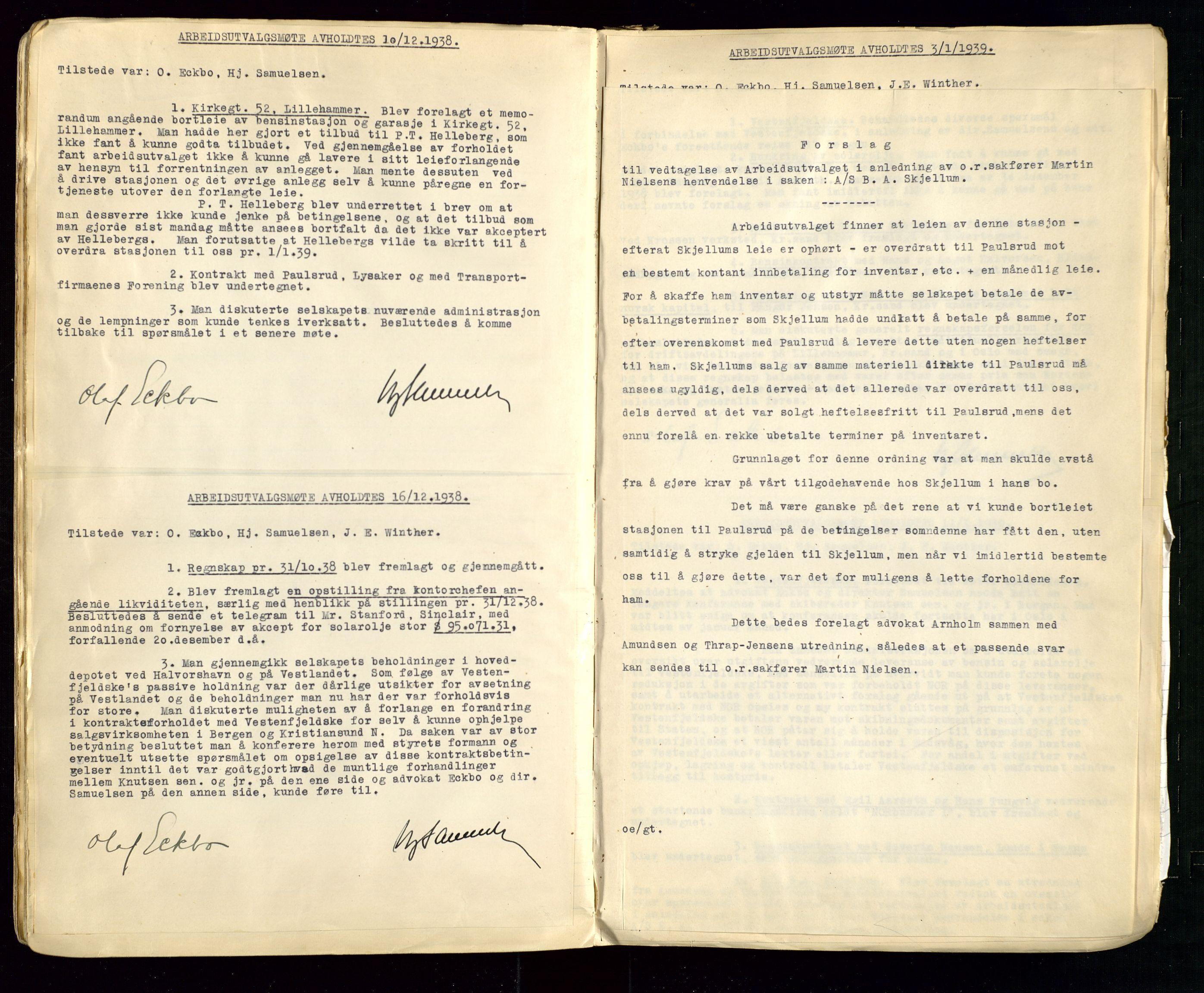 SAST, PA 1514 - Sporveienes Bensindepot, Norsk Oljeraffineri A/S, A/L0002: Forhandlingsprotokoll Arbeidsutvaget, 1932-1946, s. 74