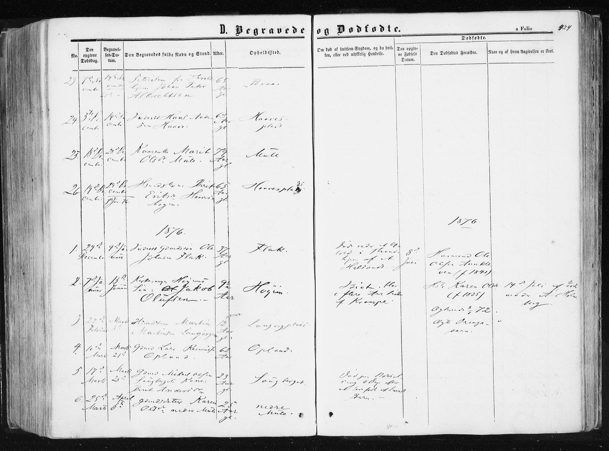SAT, Ministerialprotokoller, klokkerbøker og fødselsregistre - Sør-Trøndelag, 612/L0377: Ministerialbok nr. 612A09, 1859-1877, s. 424