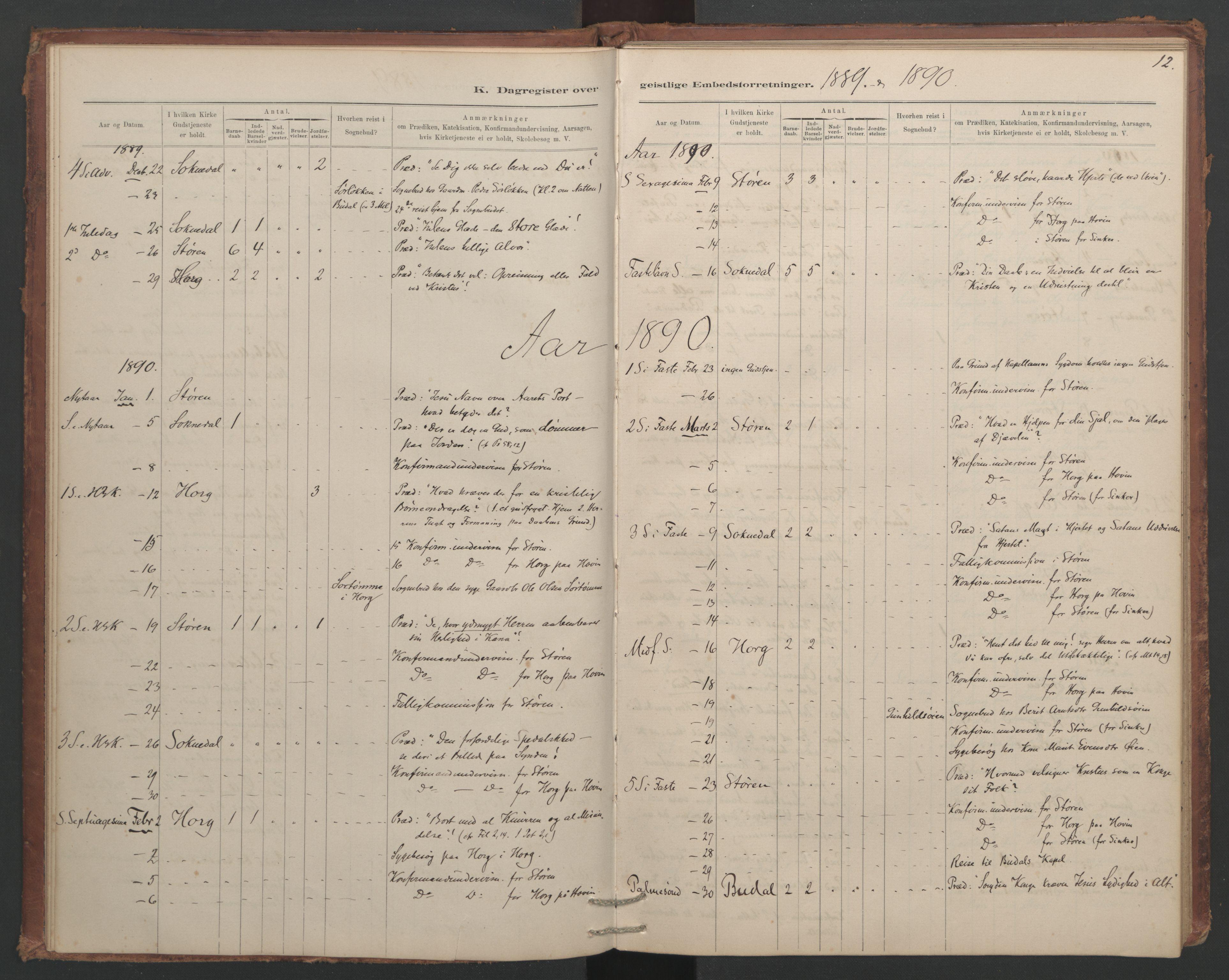 SAT, Ministerialprotokoller, klokkerbøker og fødselsregistre - Sør-Trøndelag, 687/L1012: Dagregister nr. 687B01, 1887-1914, s. 12