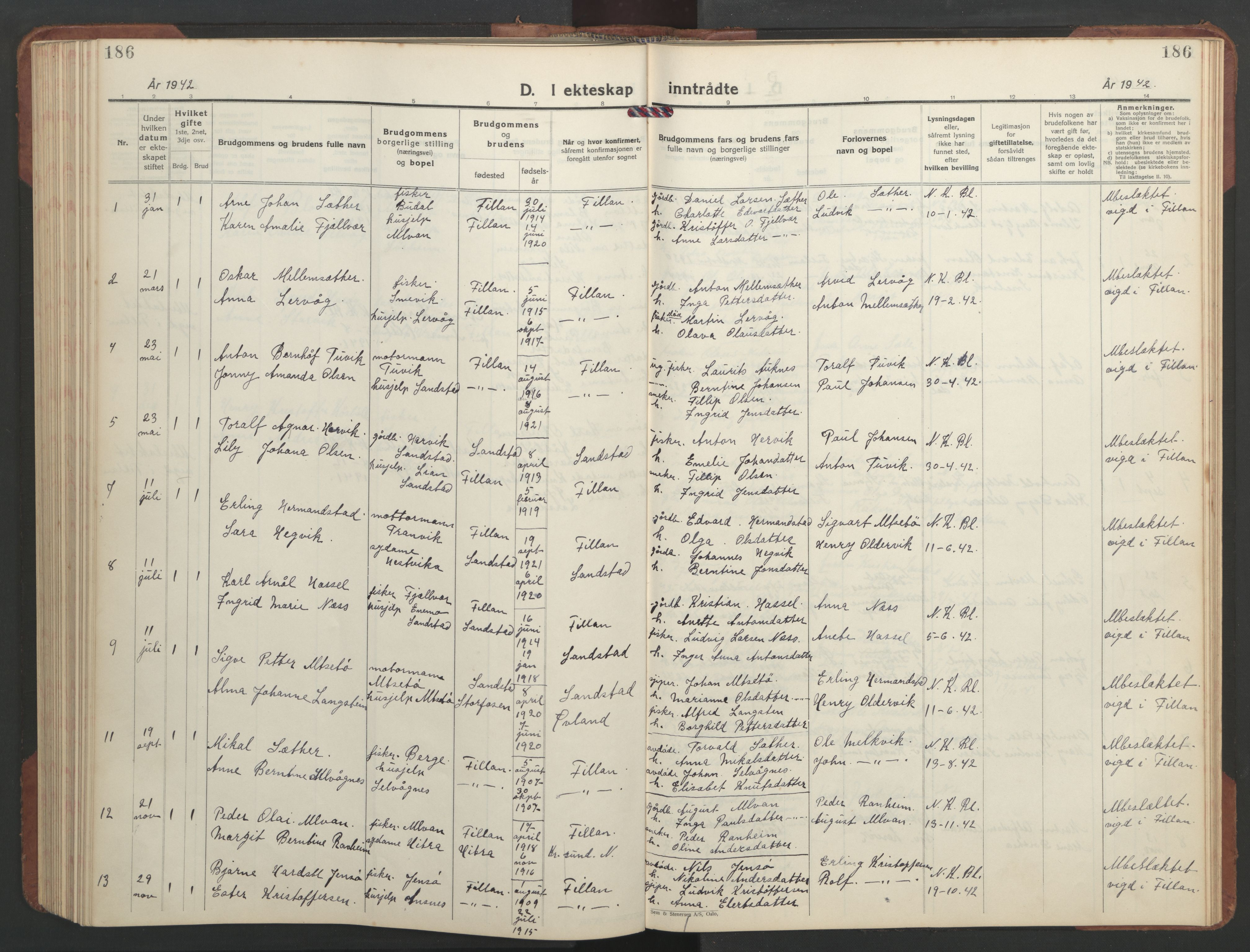 SAT, Ministerialprotokoller, klokkerbøker og fødselsregistre - Sør-Trøndelag, 637/L0564: Klokkerbok nr. 637C05, 1928-1968, s. 186
