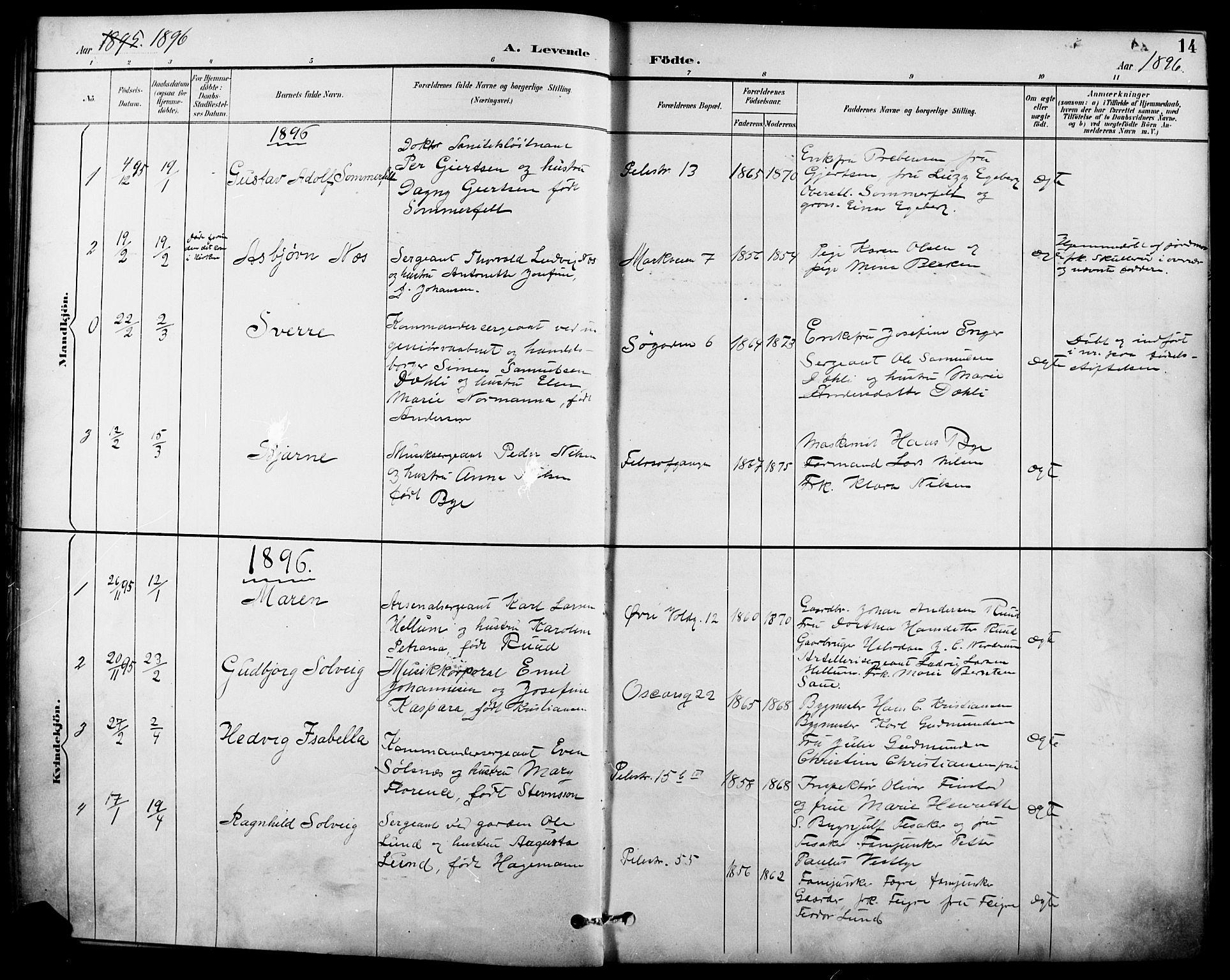 SAO, Garnisonsmenigheten Kirkebøker, F/Fa/L0013: Ministerialbok nr. 13, 1894-1904, s. 14