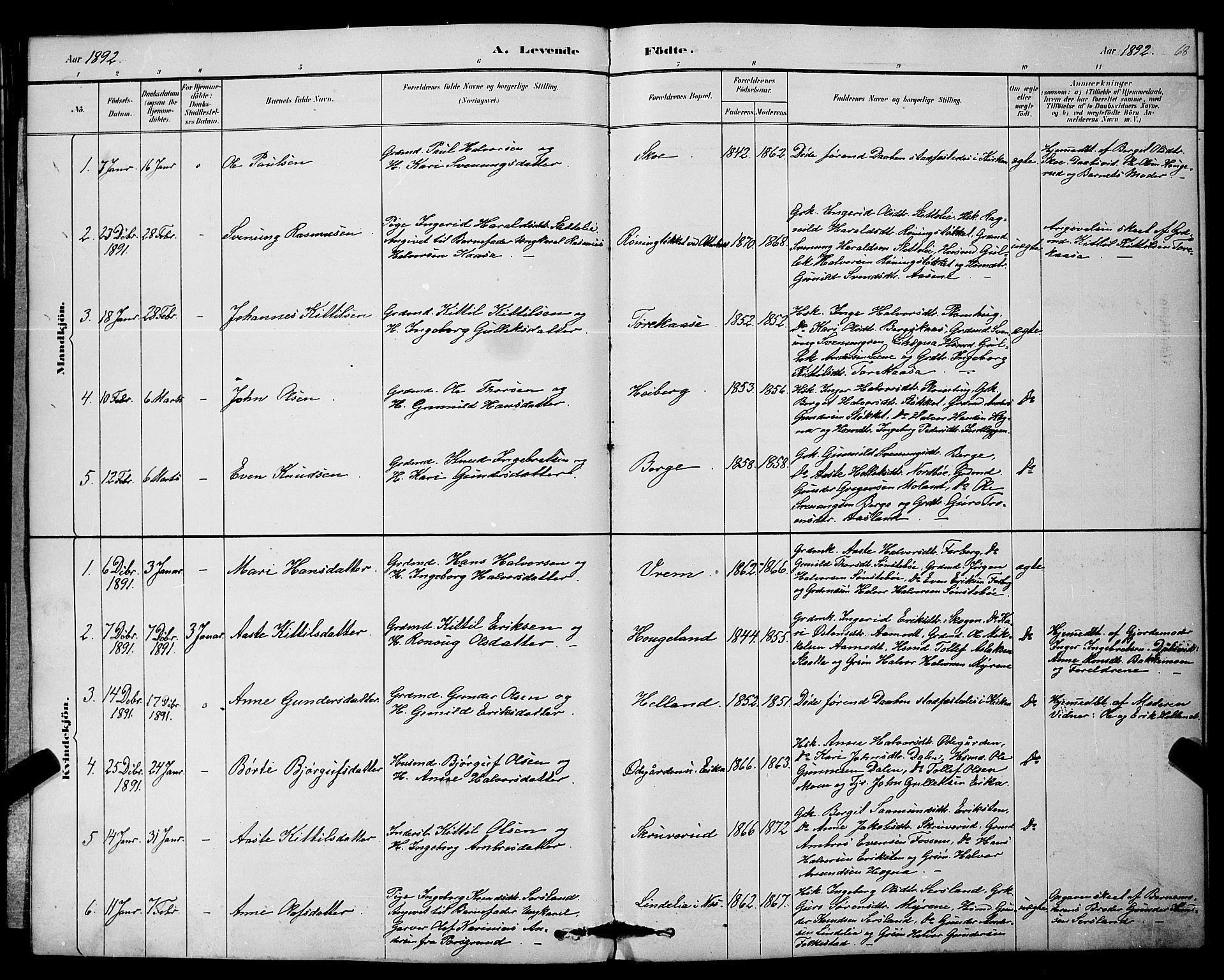 SAKO, Bø kirkebøker, G/Ga/L0005: Klokkerbok nr. 5, 1883-1897, s. 68