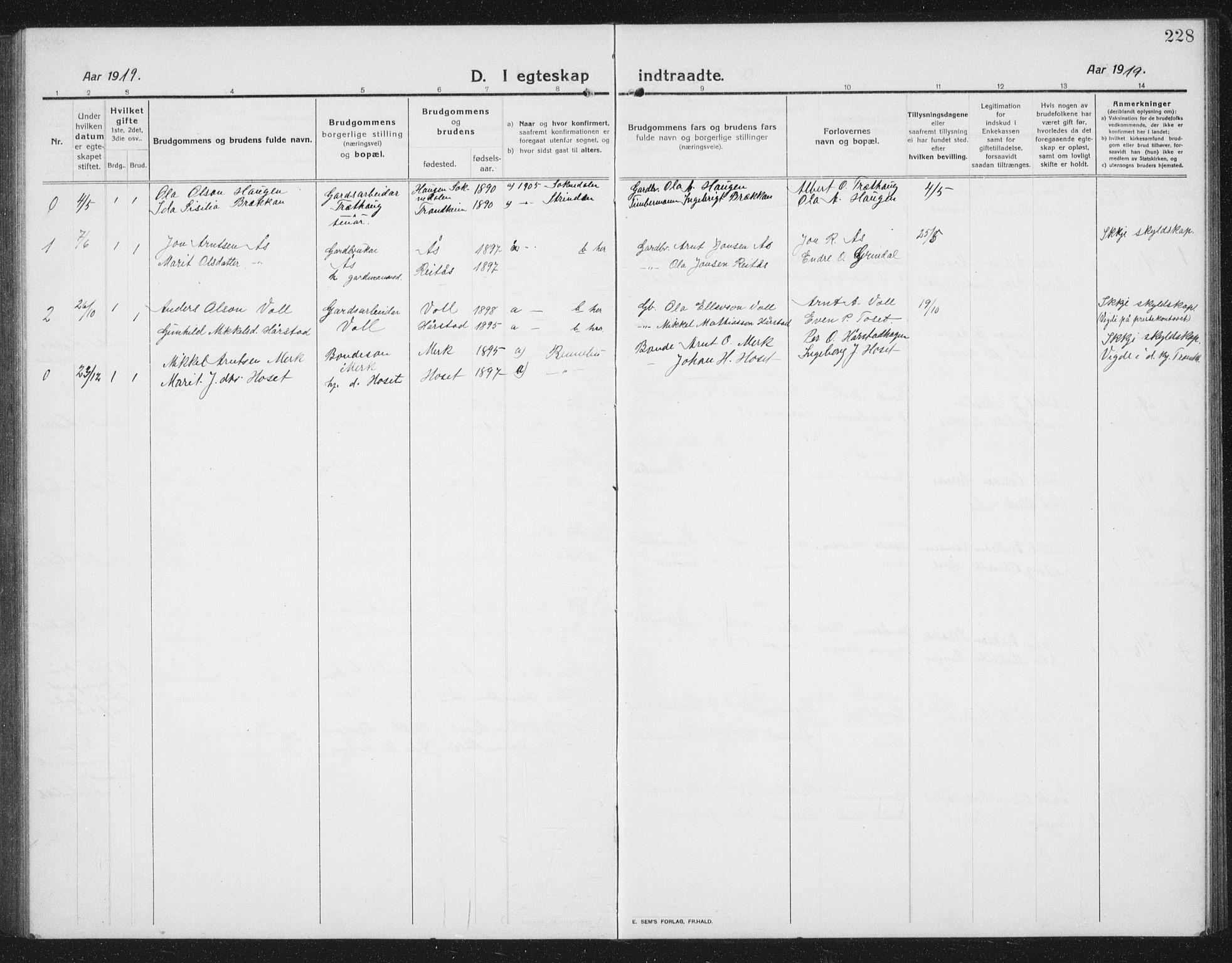 SAT, Ministerialprotokoller, klokkerbøker og fødselsregistre - Sør-Trøndelag, 674/L0877: Klokkerbok nr. 674C04, 1913-1940, s. 228