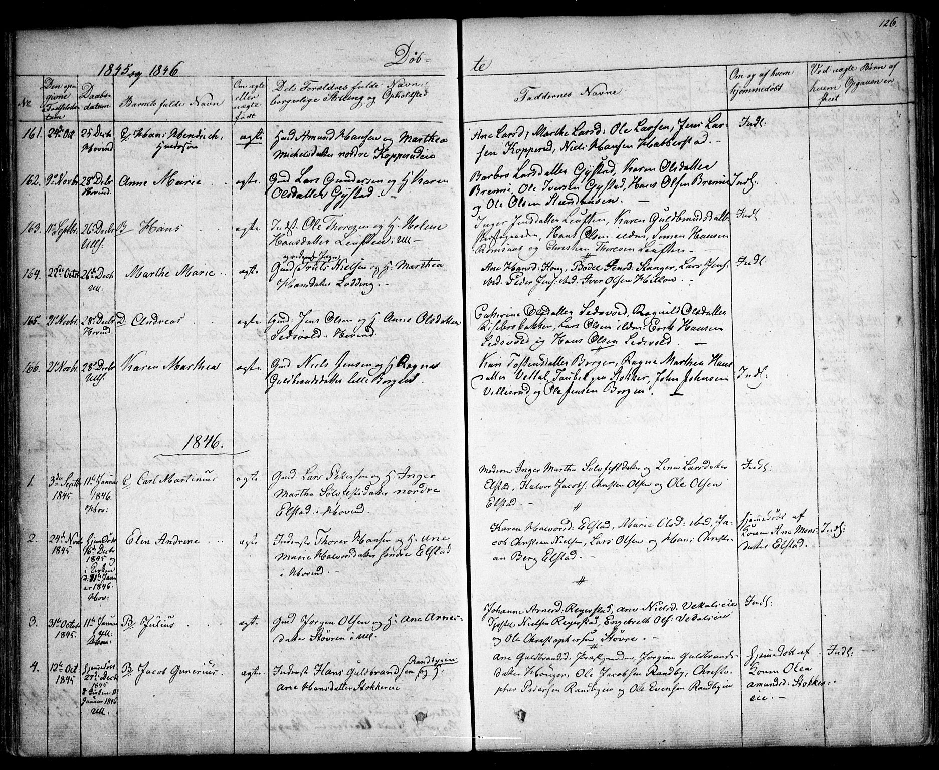 SAO, Ullensaker prestekontor Kirkebøker, F/Fa/L0014.a: Ministerialbok nr. I 14A, 1836-1850, s. 126