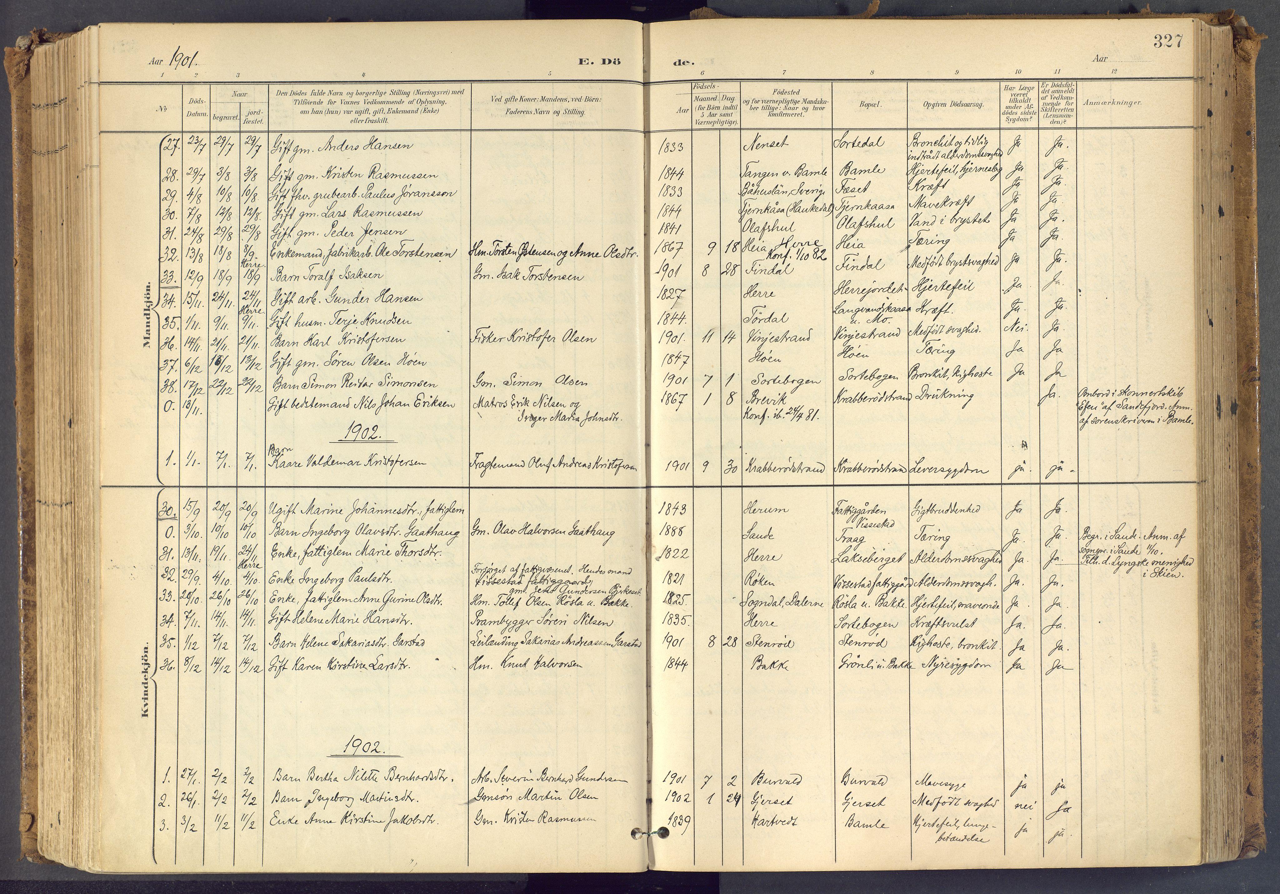 SAKO, Bamble kirkebøker, F/Fa/L0009: Ministerialbok nr. I 9, 1901-1917, s. 327