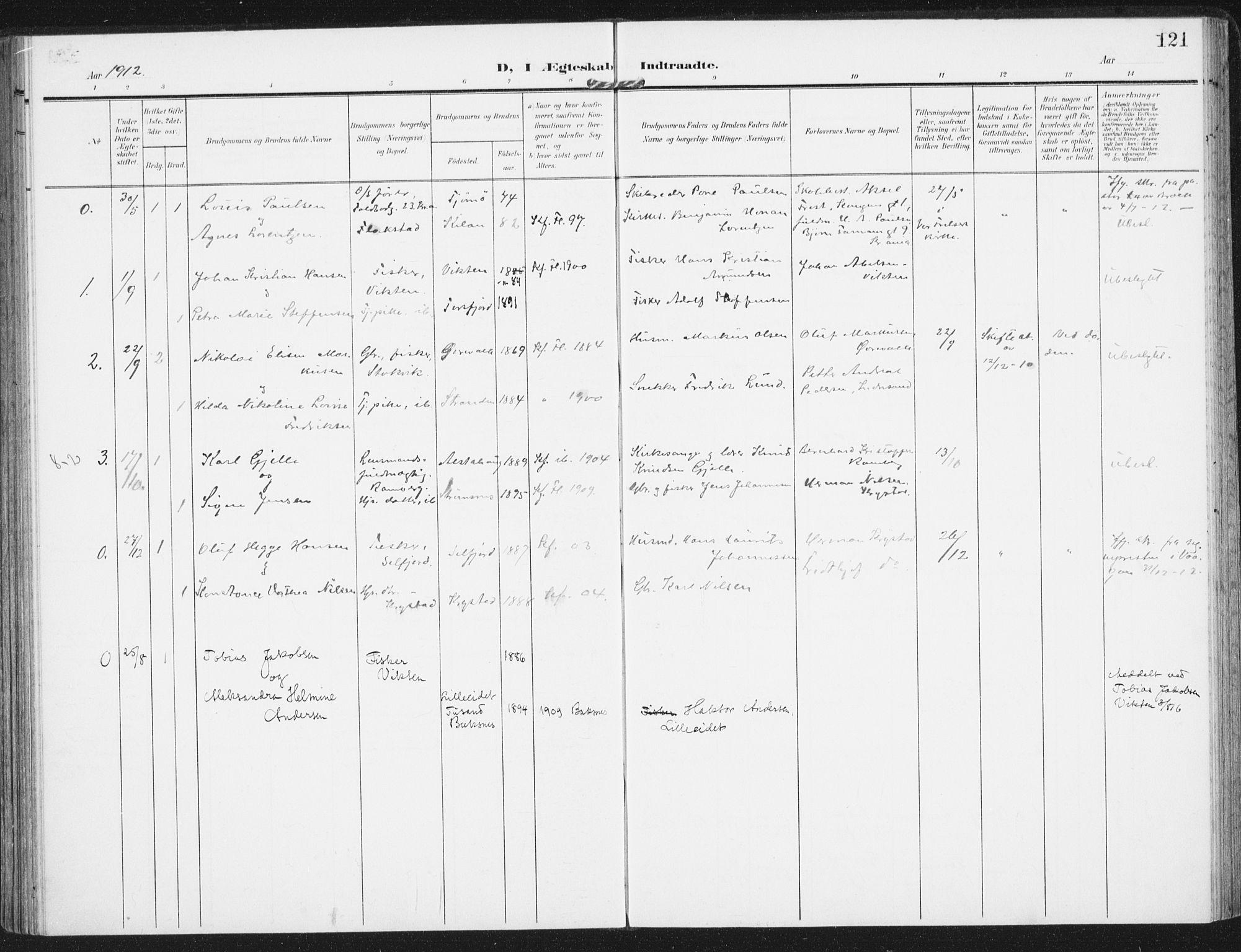 SAT, Ministerialprotokoller, klokkerbøker og fødselsregistre - Nordland, 885/L1206: Ministerialbok nr. 885A07, 1905-1915, s. 121