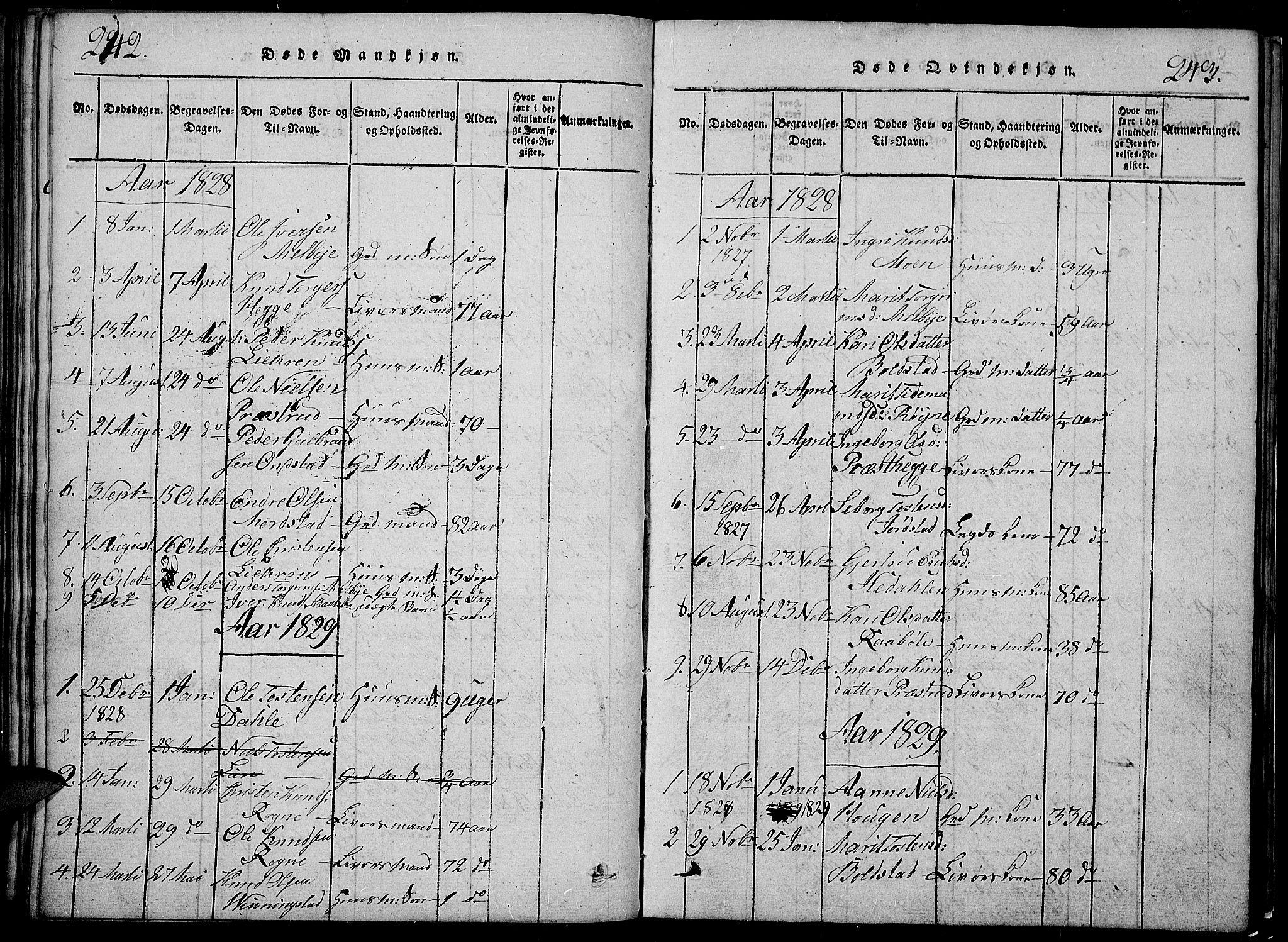 SAH, Slidre prestekontor, Klokkerbok nr. 2, 1814-1839, s. 242-243