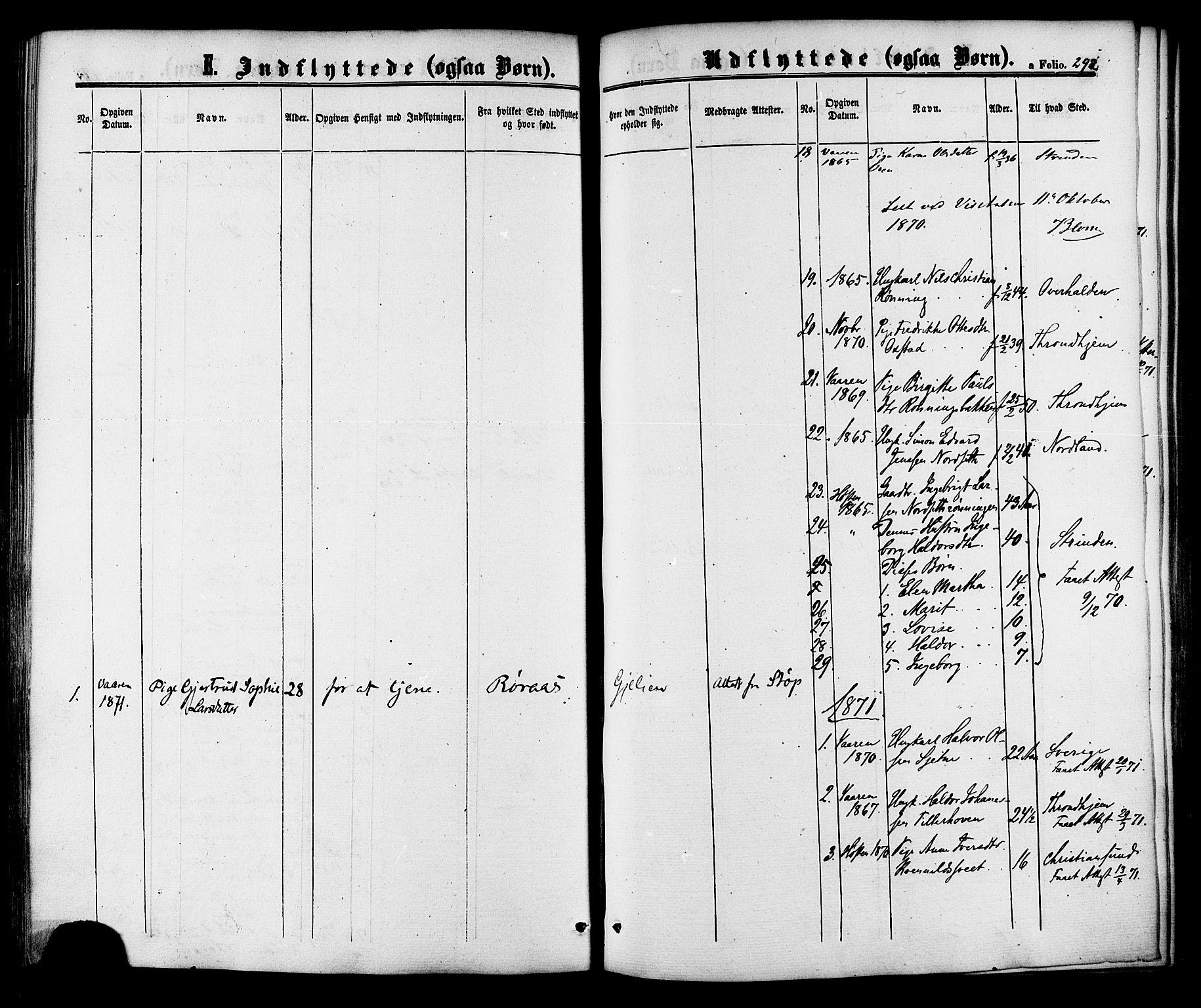 SAT, Ministerialprotokoller, klokkerbøker og fødselsregistre - Sør-Trøndelag, 618/L0442: Ministerialbok nr. 618A06 /1, 1863-1879, s. 292