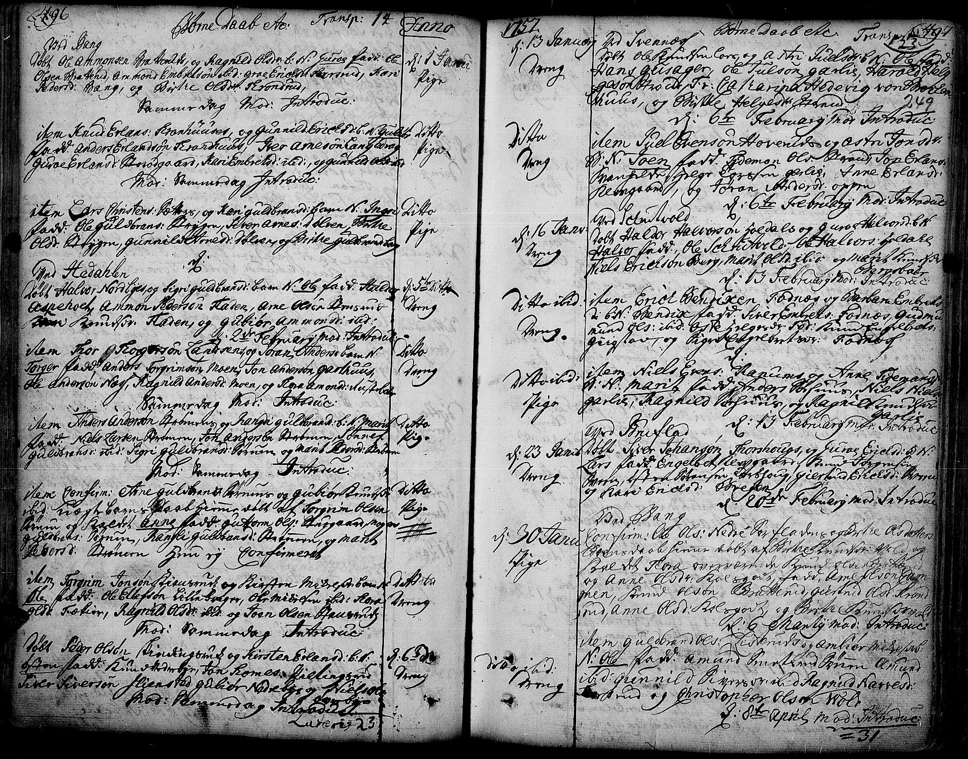 SAH, Aurdal prestekontor, Ministerialbok nr. 4, 1730-1762, s. 496-497