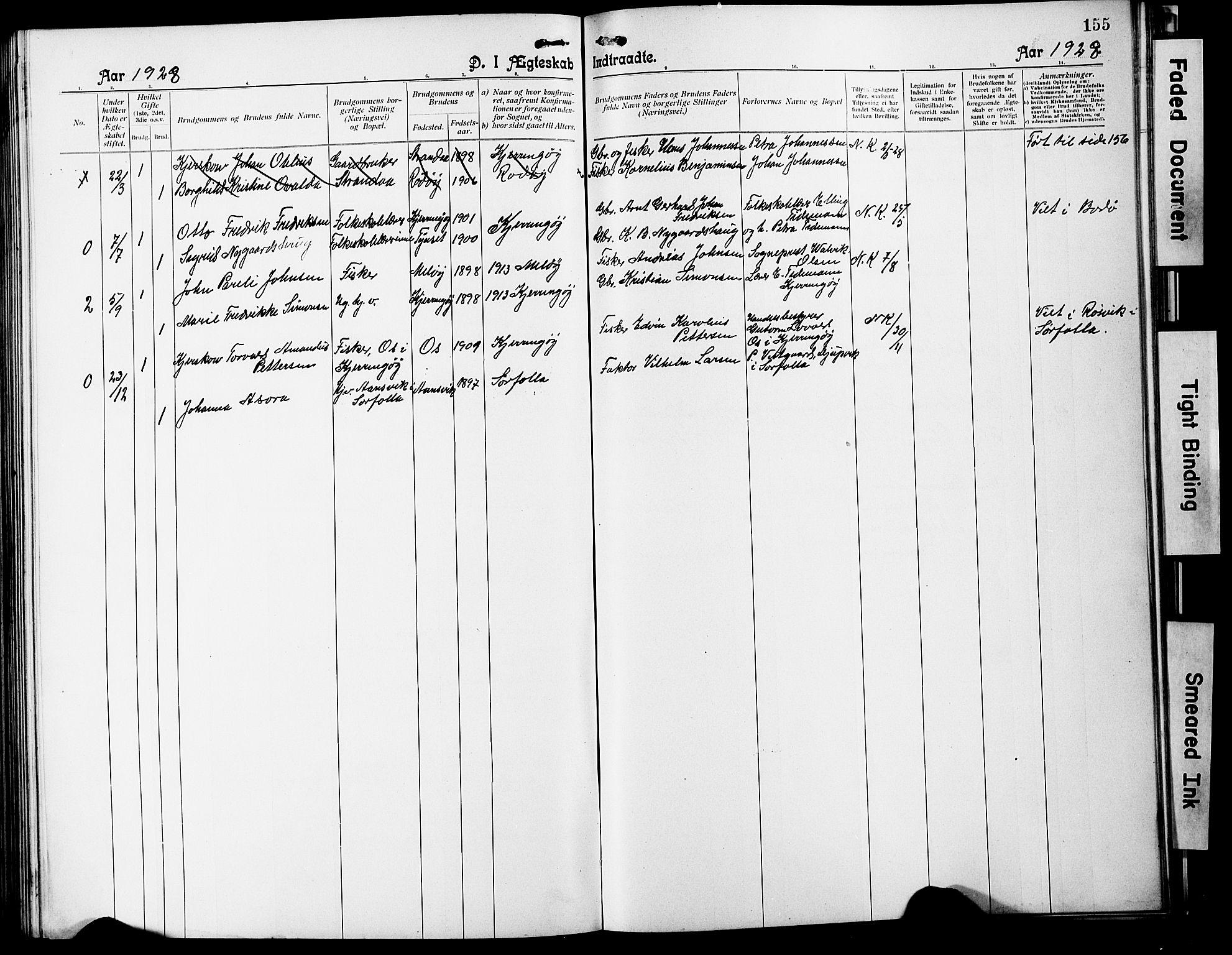 SAT, Ministerialprotokoller, klokkerbøker og fødselsregistre - Nordland, 803/L0077: Klokkerbok nr. 803C04, 1897-1930, s. 155