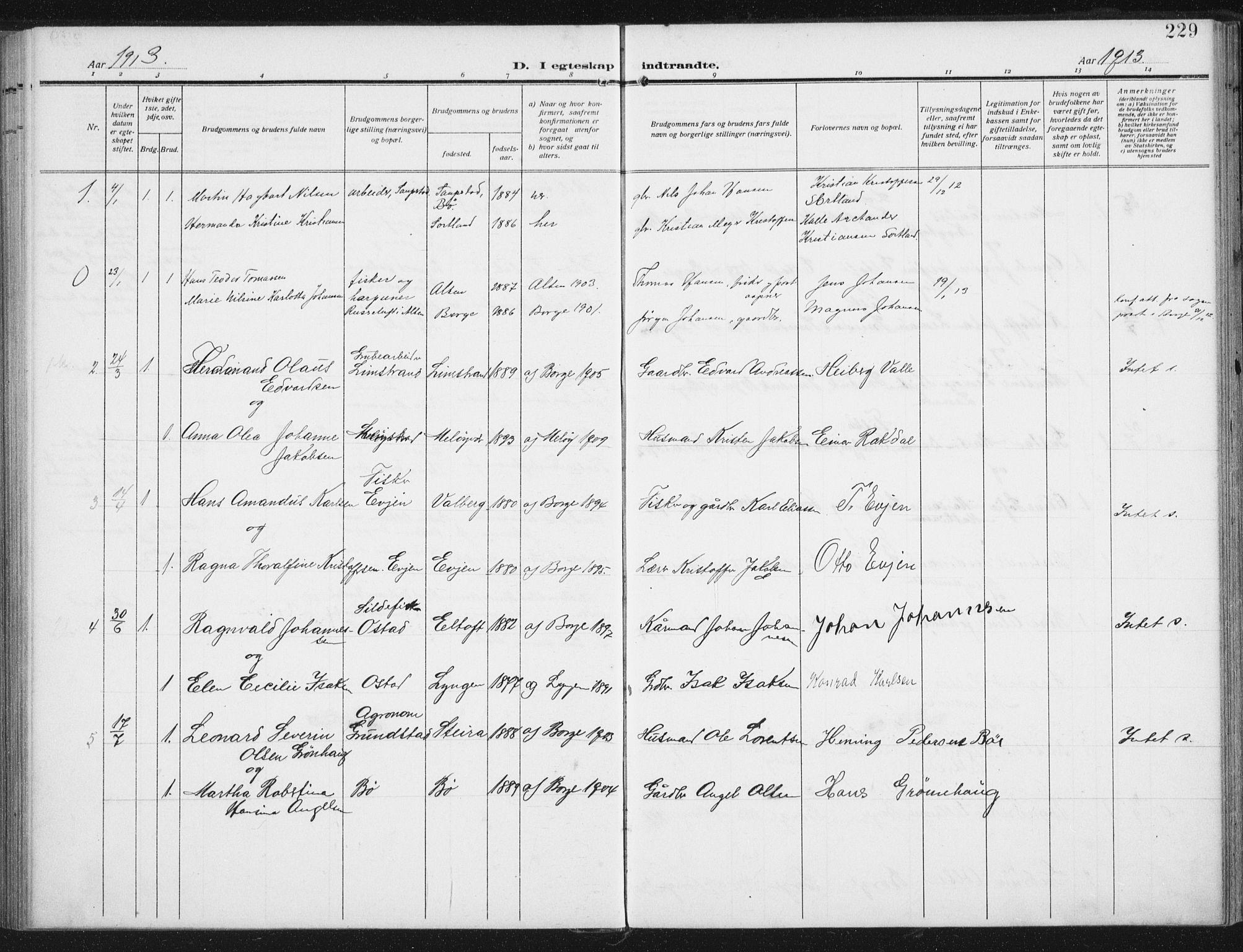 SAT, Ministerialprotokoller, klokkerbøker og fødselsregistre - Nordland, 880/L1135: Ministerialbok nr. 880A09, 1908-1919, s. 229