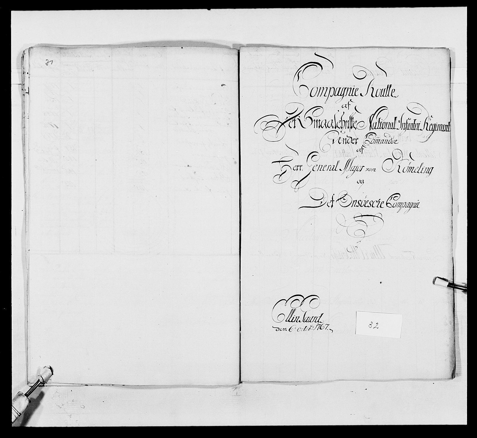 RA, Kommanderende general (KG I) med Det norske krigsdirektorium, E/Ea/L0496: 1. Smålenske regiment, 1765-1767, s. 593