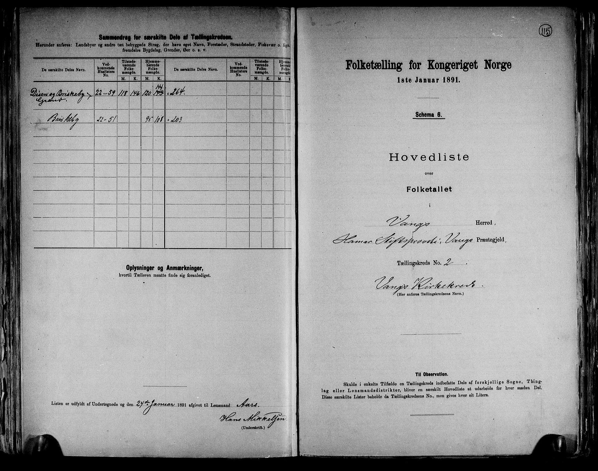RA, Folketelling 1891 for 0414 Vang herred, 1891, s. 10