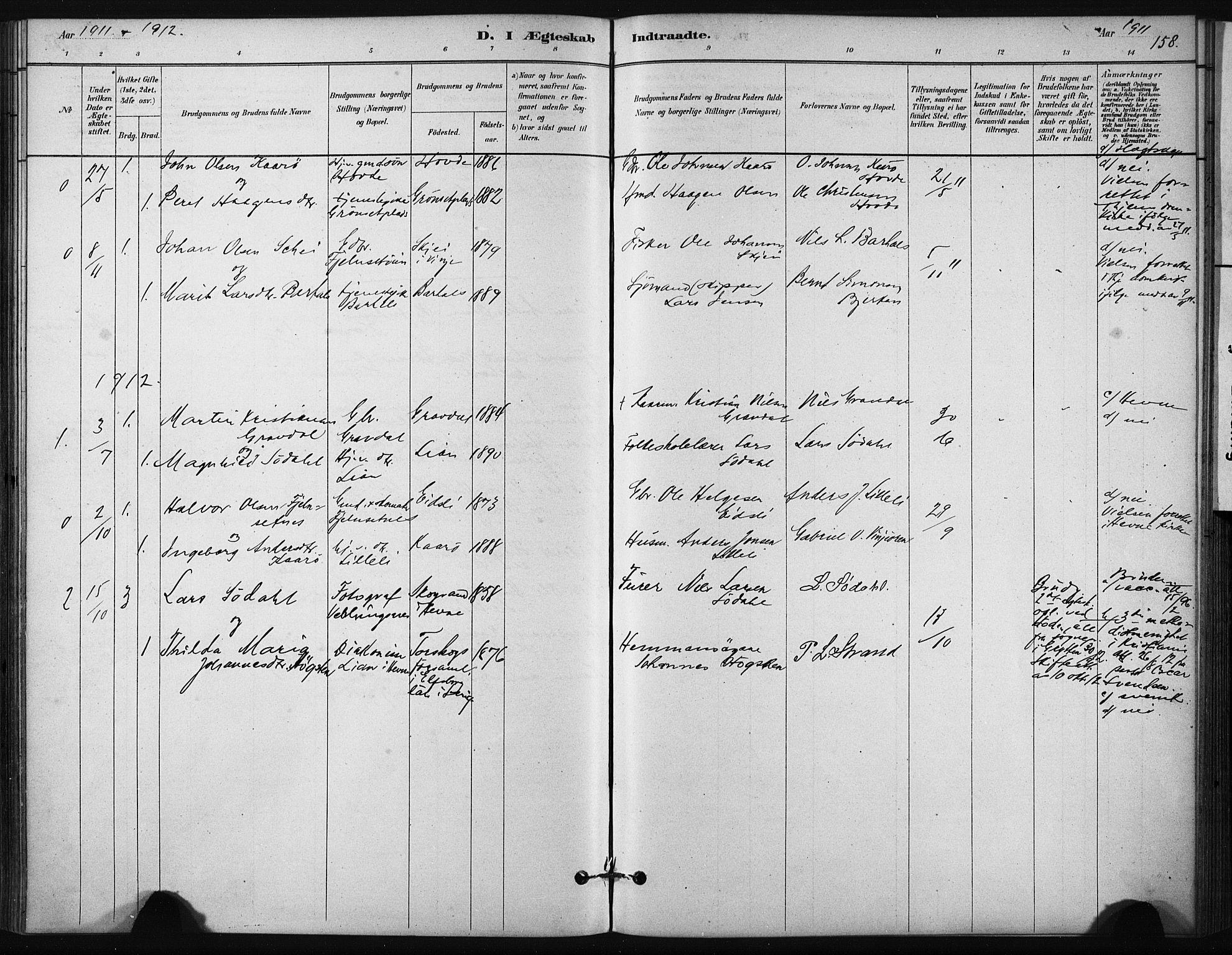 SAT, Ministerialprotokoller, klokkerbøker og fødselsregistre - Sør-Trøndelag, 631/L0512: Ministerialbok nr. 631A01, 1879-1912, s. 158