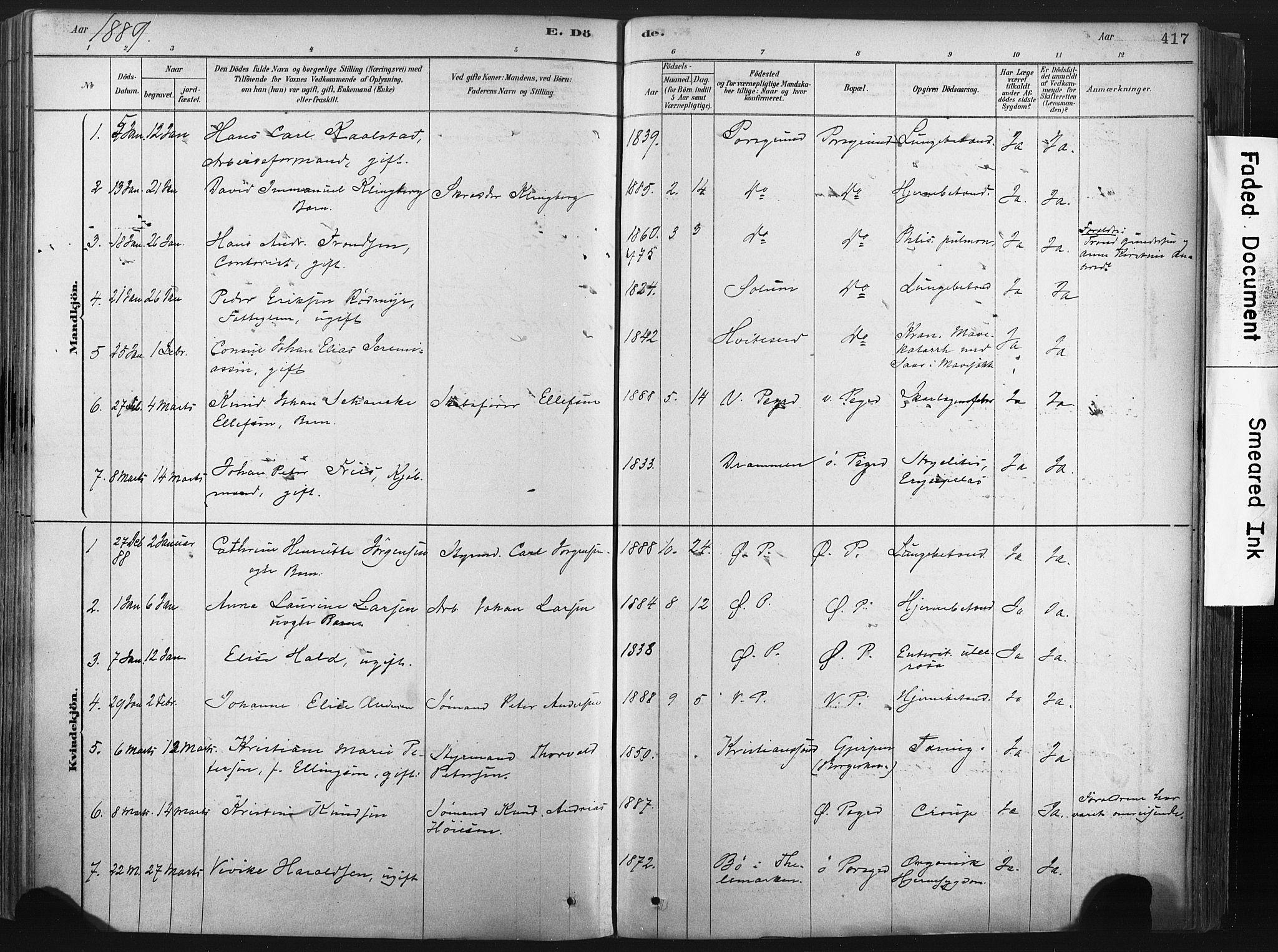 SAKO, Porsgrunn kirkebøker , F/Fa/L0008: Ministerialbok nr. 8, 1878-1895, s. 417
