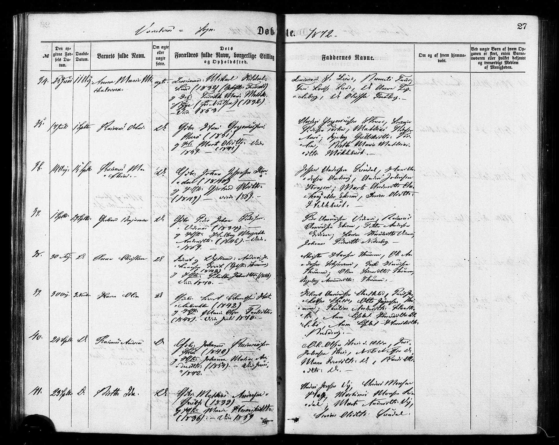 SAT, Ministerialprotokoller, klokkerbøker og fødselsregistre - Møre og Romsdal, 501/L0007: Ministerialbok nr. 501A07, 1868-1884, s. 27