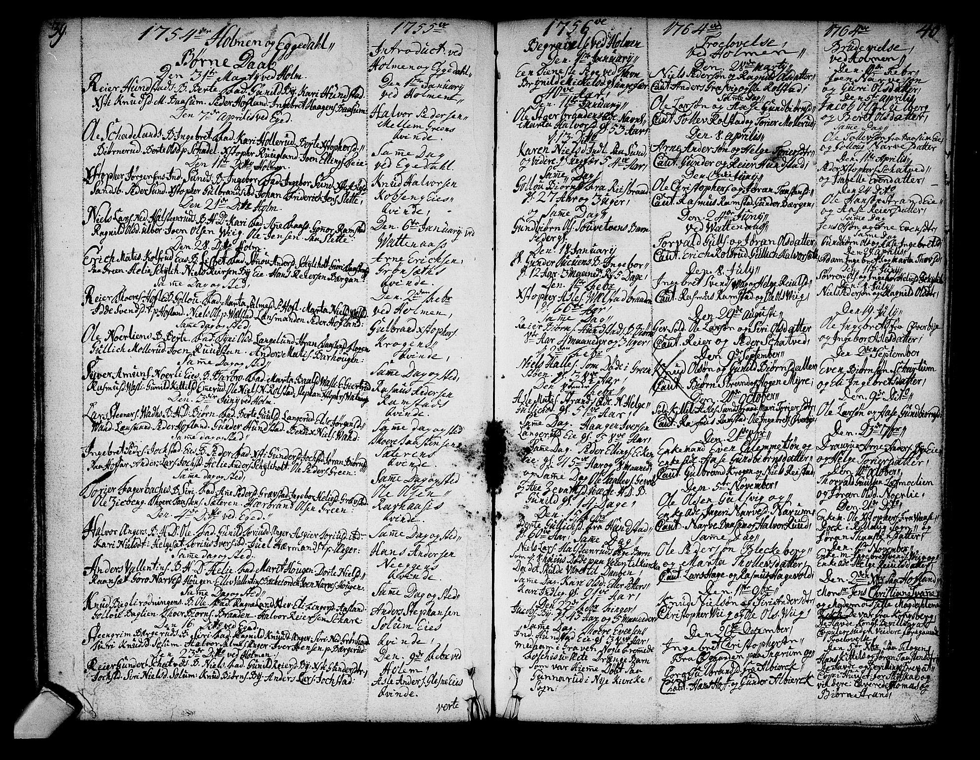 SAKO, Sigdal kirkebøker, F/Fa/L0001: Ministerialbok nr. I 1, 1722-1777, s. 39-40