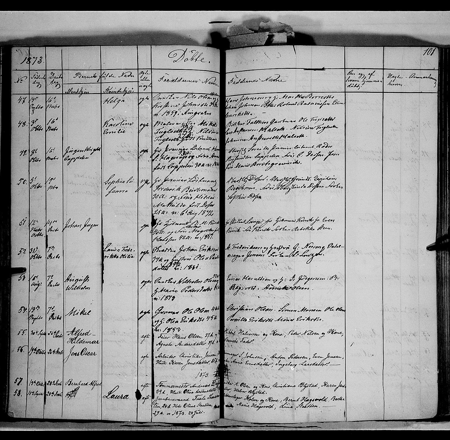 SAH, Vang prestekontor, Hedmark, H/Ha/Haa/L0011: Ministerialbok nr. 11, 1852-1877, s. 101