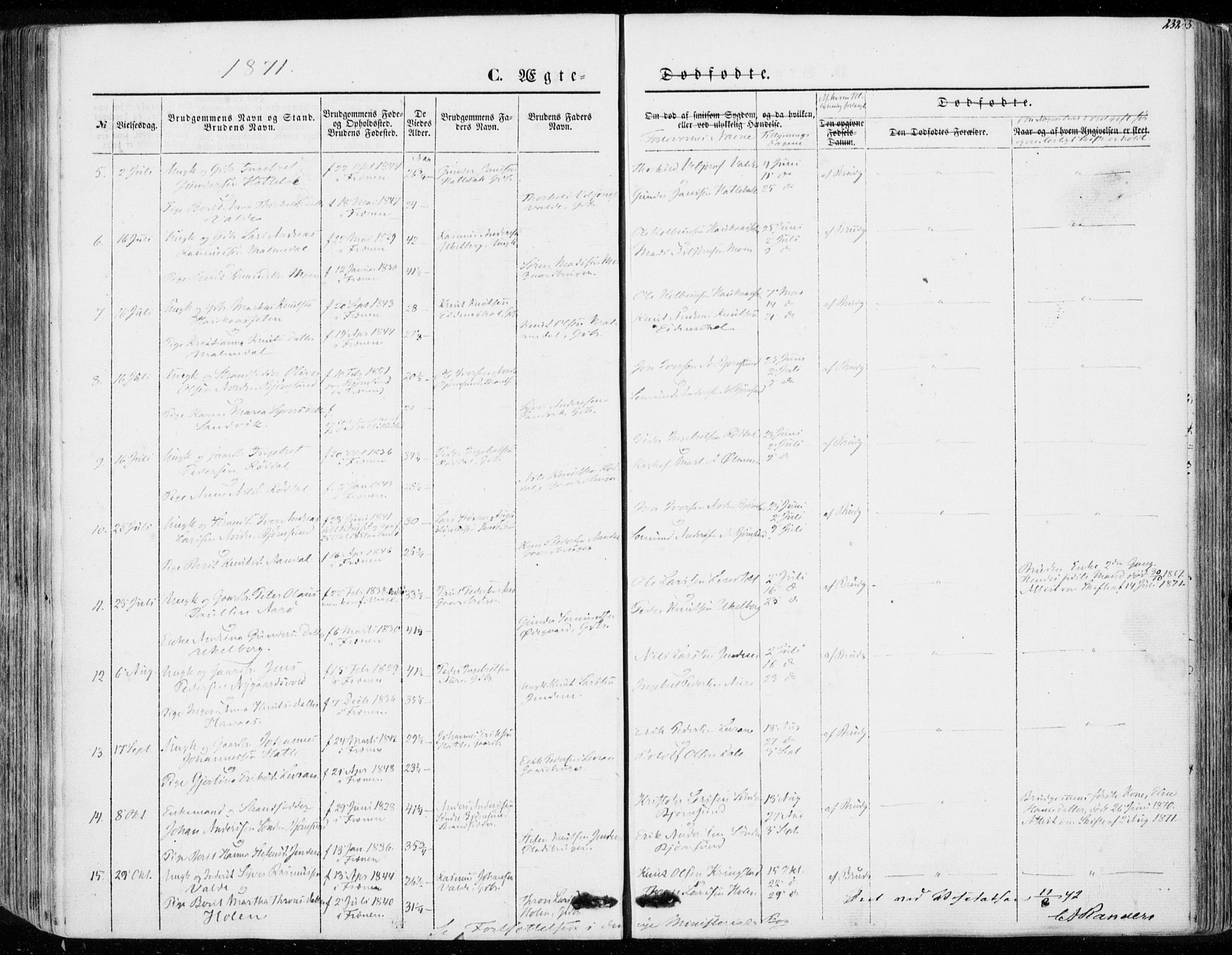 SAT, Ministerialprotokoller, klokkerbøker og fødselsregistre - Møre og Romsdal, 565/L0748: Ministerialbok nr. 565A02, 1845-1872, s. 232