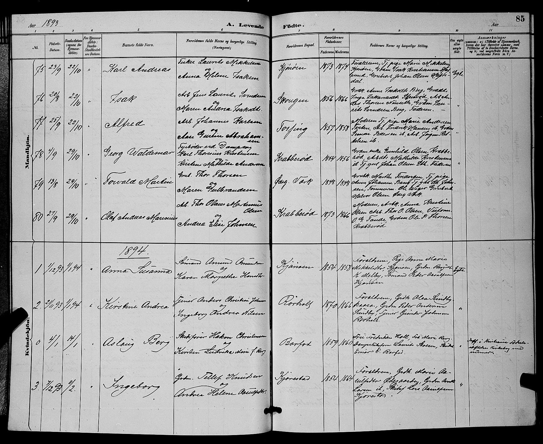 SAKO, Bamble kirkebøker, G/Ga/L0009: Klokkerbok nr. I 9, 1888-1900, s. 85
