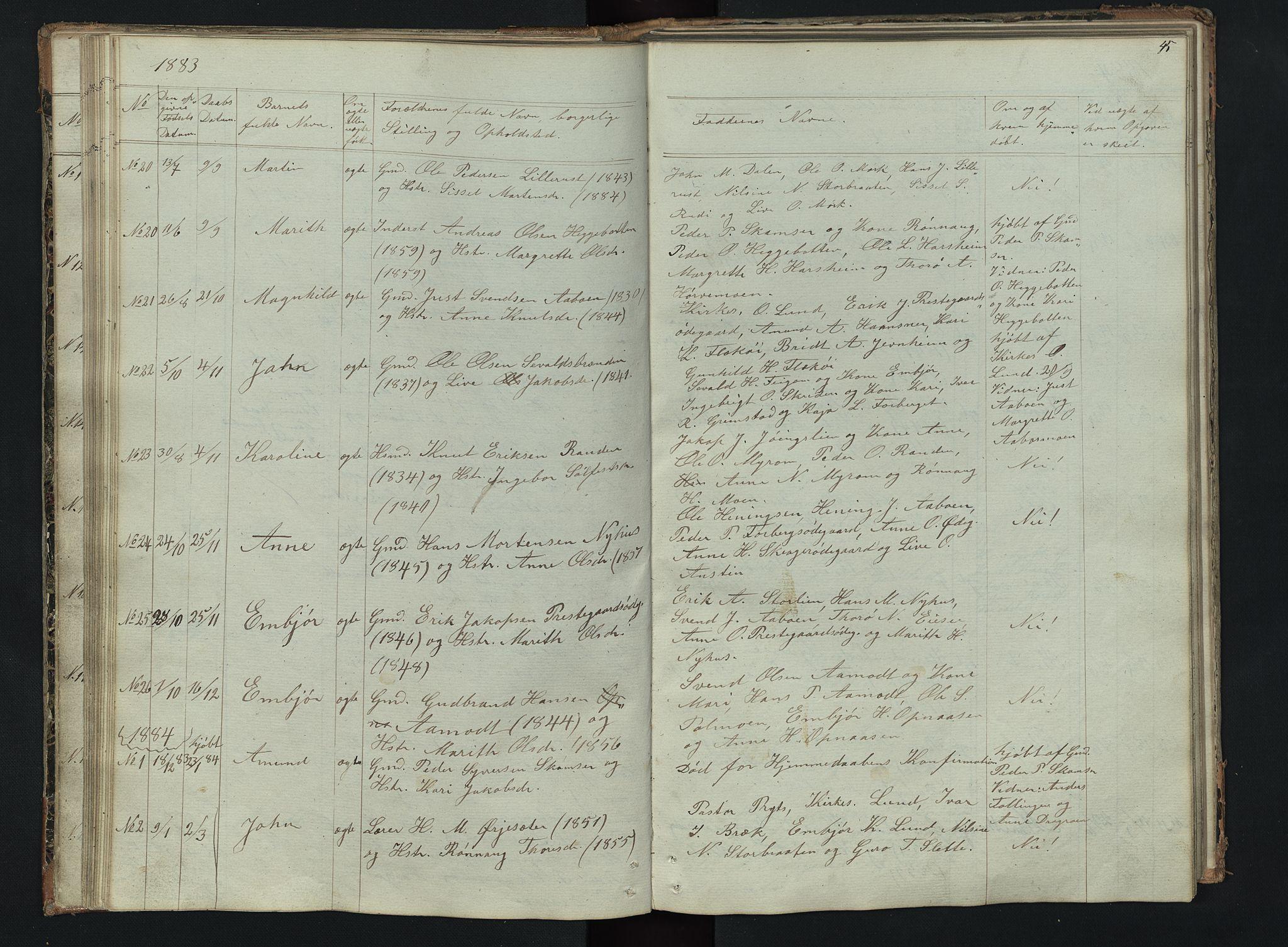 SAH, Skjåk prestekontor, Klokkerbok nr. 2, 1867-1894, s. 45