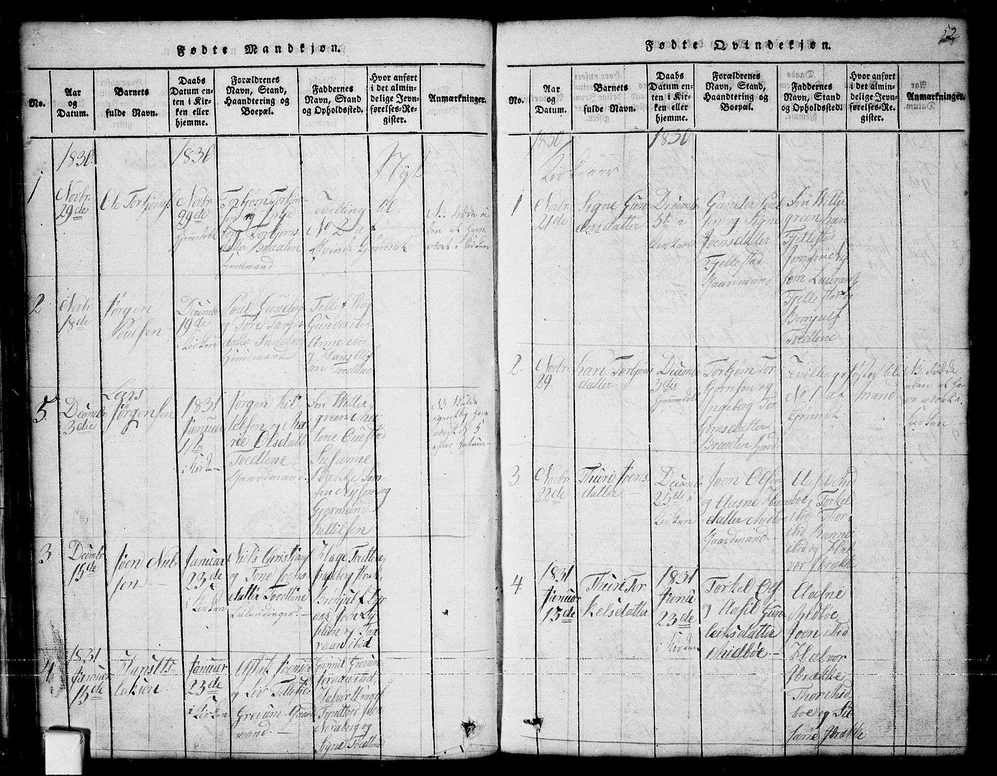 SAKO, Nissedal kirkebøker, G/Ga/L0001: Klokkerbok nr. I 1, 1814-1860, s. 52