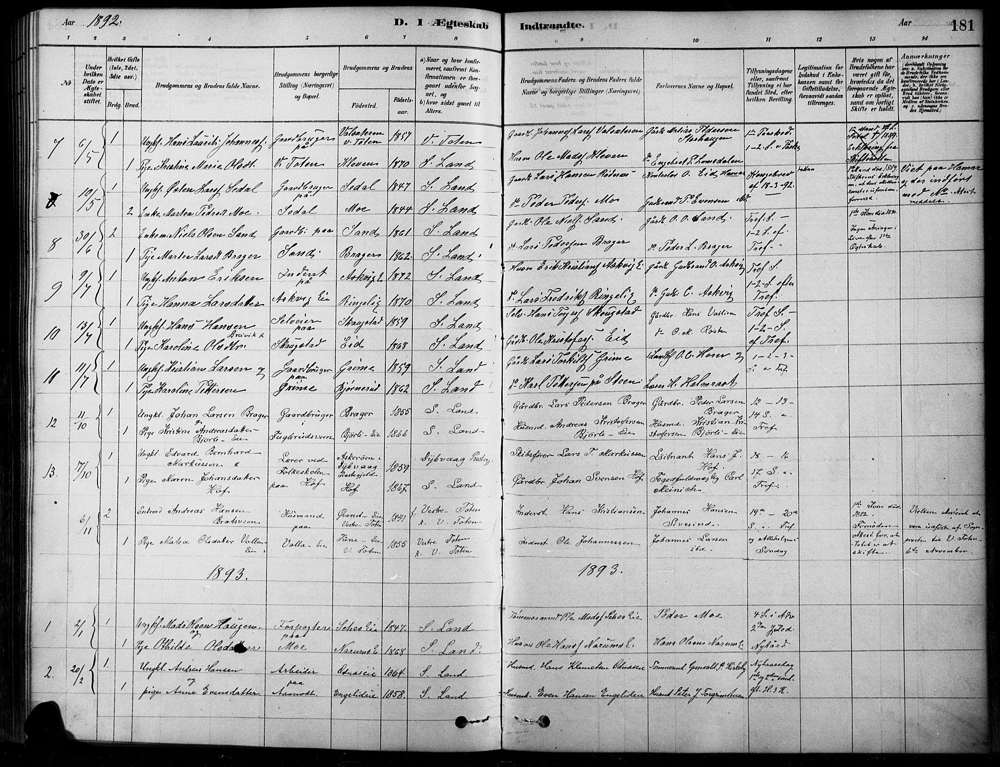 SAH, Søndre Land prestekontor, K/L0003: Ministerialbok nr. 3, 1878-1894, s. 181