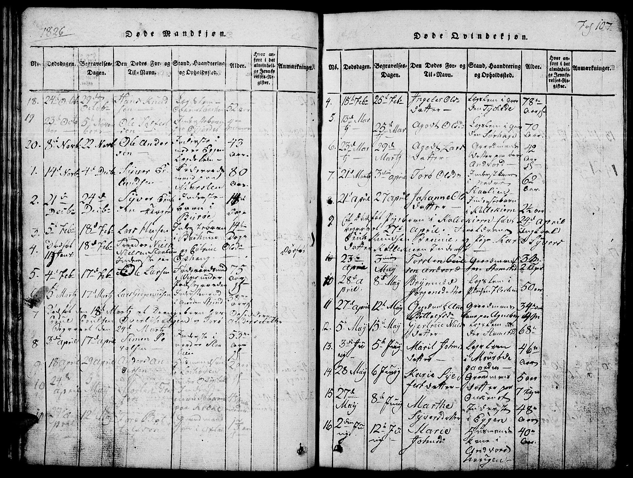 SAH, Lom prestekontor, L/L0001: Klokkerbok nr. 1, 1815-1836, s. 107