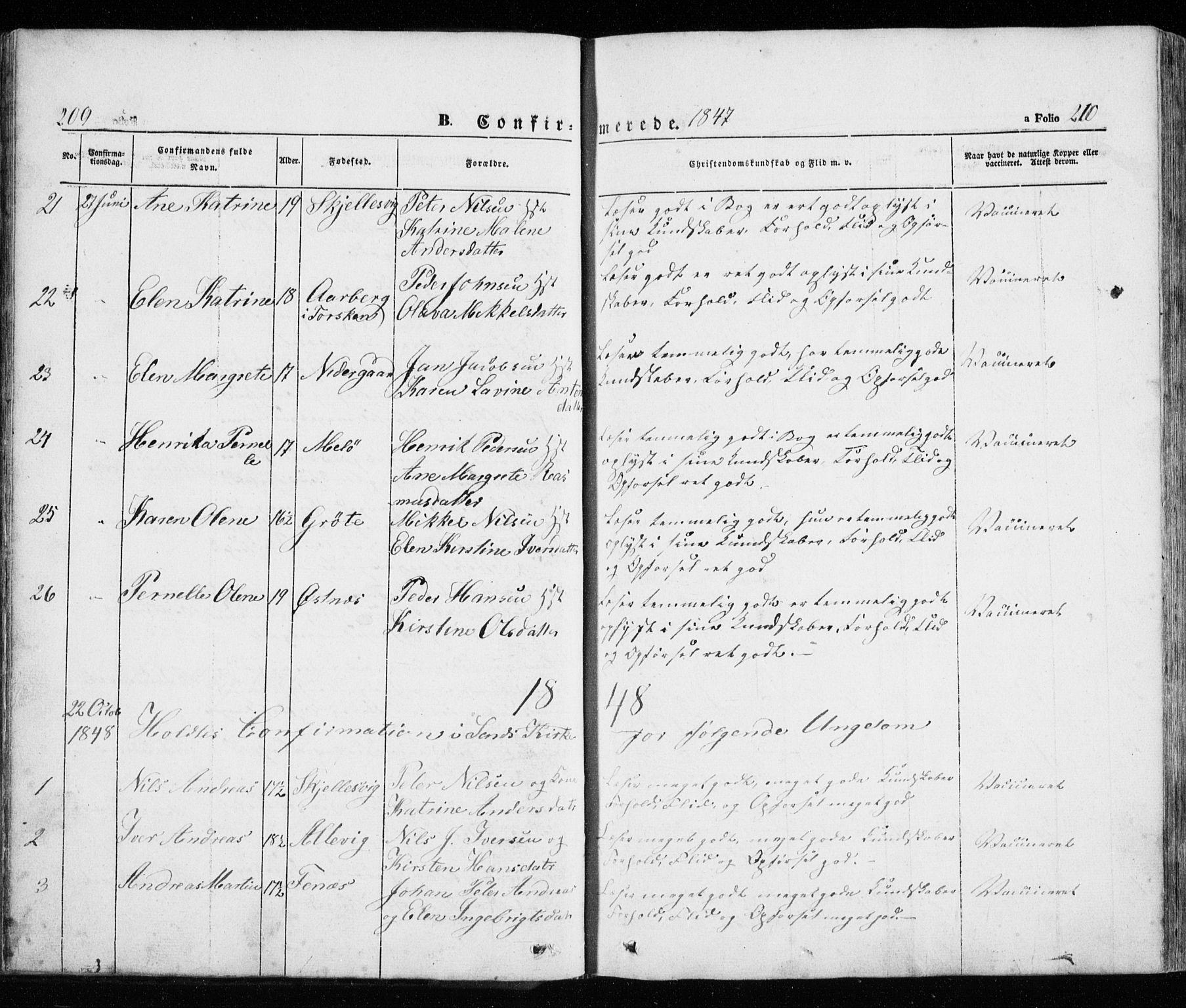 SATØ, Trondenes sokneprestkontor, H/Ha/L0010kirke: Ministerialbok nr. 10, 1840-1865, s. 209-210