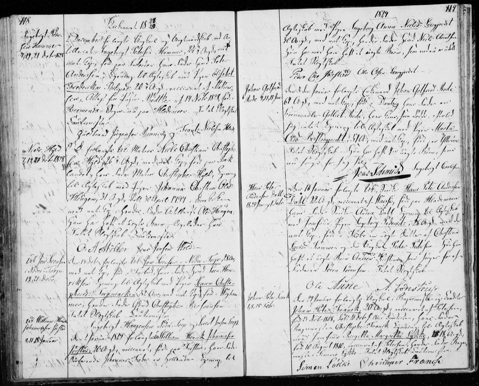 SAT, Ministerialprotokoller, klokkerbøker og fødselsregistre - Sør-Trøndelag, 606/L0295: Lysningsprotokoll nr. 606A10, 1815-1833, s. 118-119