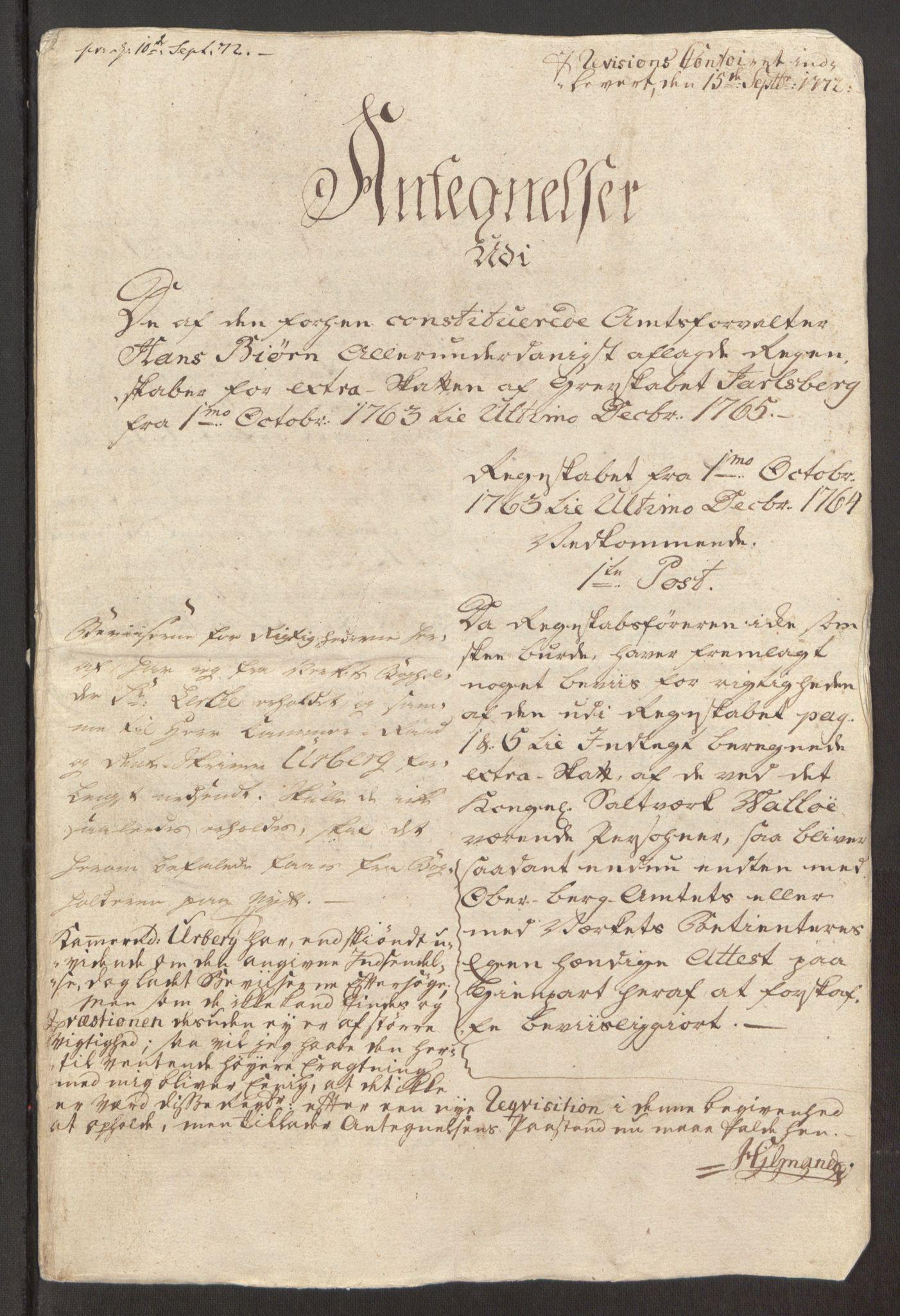 RA, Rentekammeret inntil 1814, Reviderte regnskaper, Fogderegnskap, R32/L1960: Ekstraskatten Jarlsberg grevskap, 1762-1772, s. 90