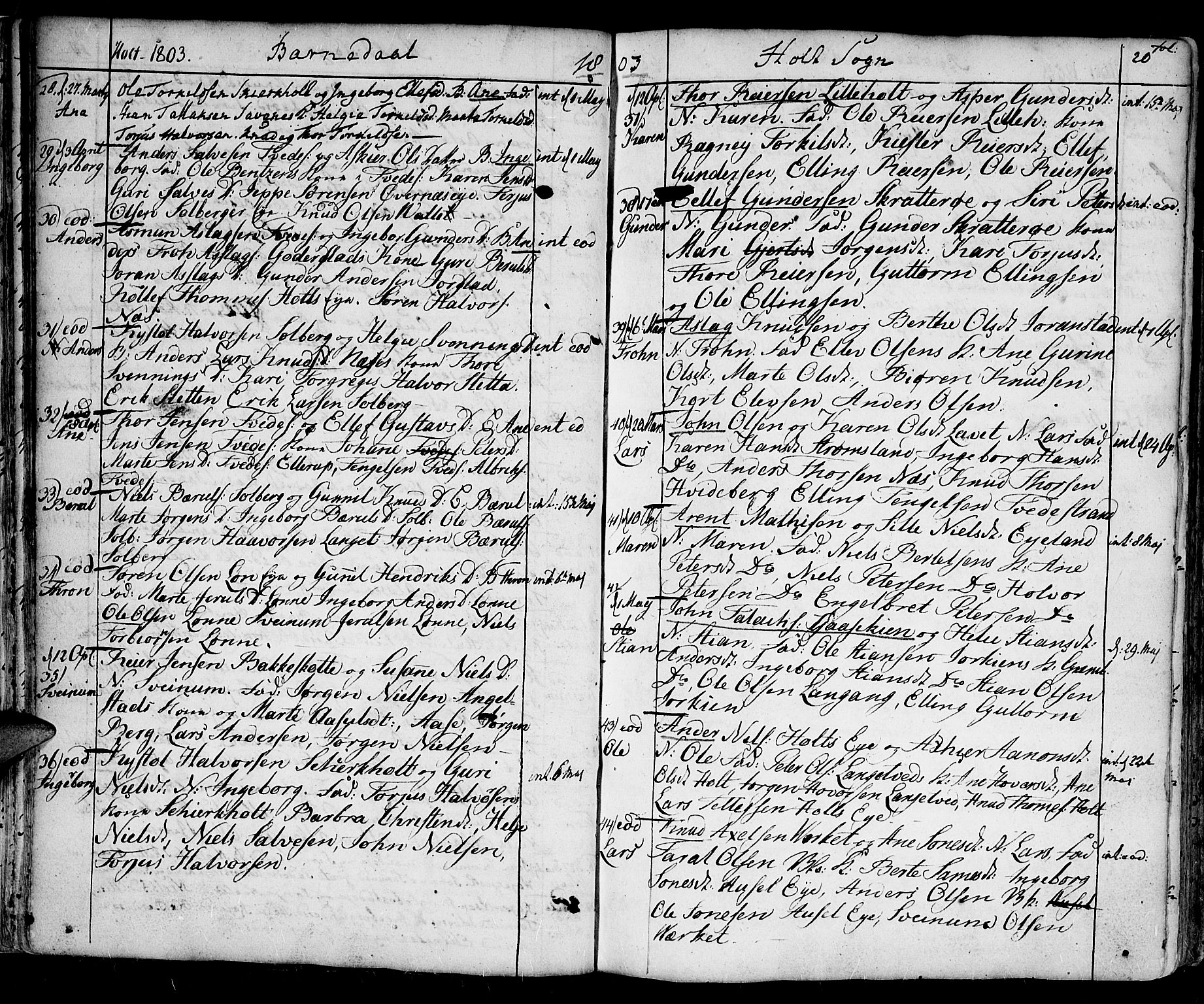 SAK, Holt sokneprestkontor, F/Fa/L0004: Ministerialbok nr. A 4, 1799-1813, s. 20