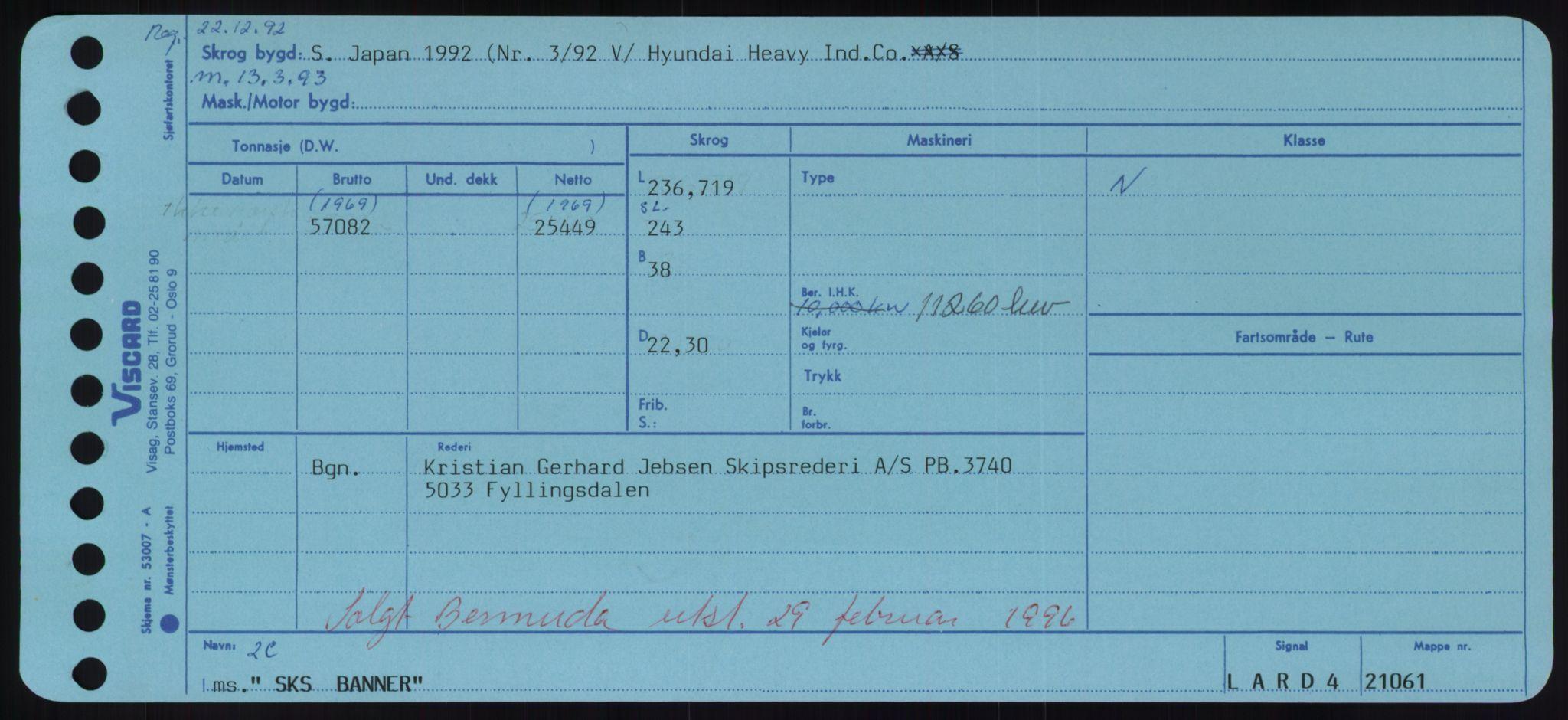 RA, Sjøfartsdirektoratet med forløpere, Skipsmålingen, H/Hd/L0034: Fartøy, Sk-Slå, s. 1